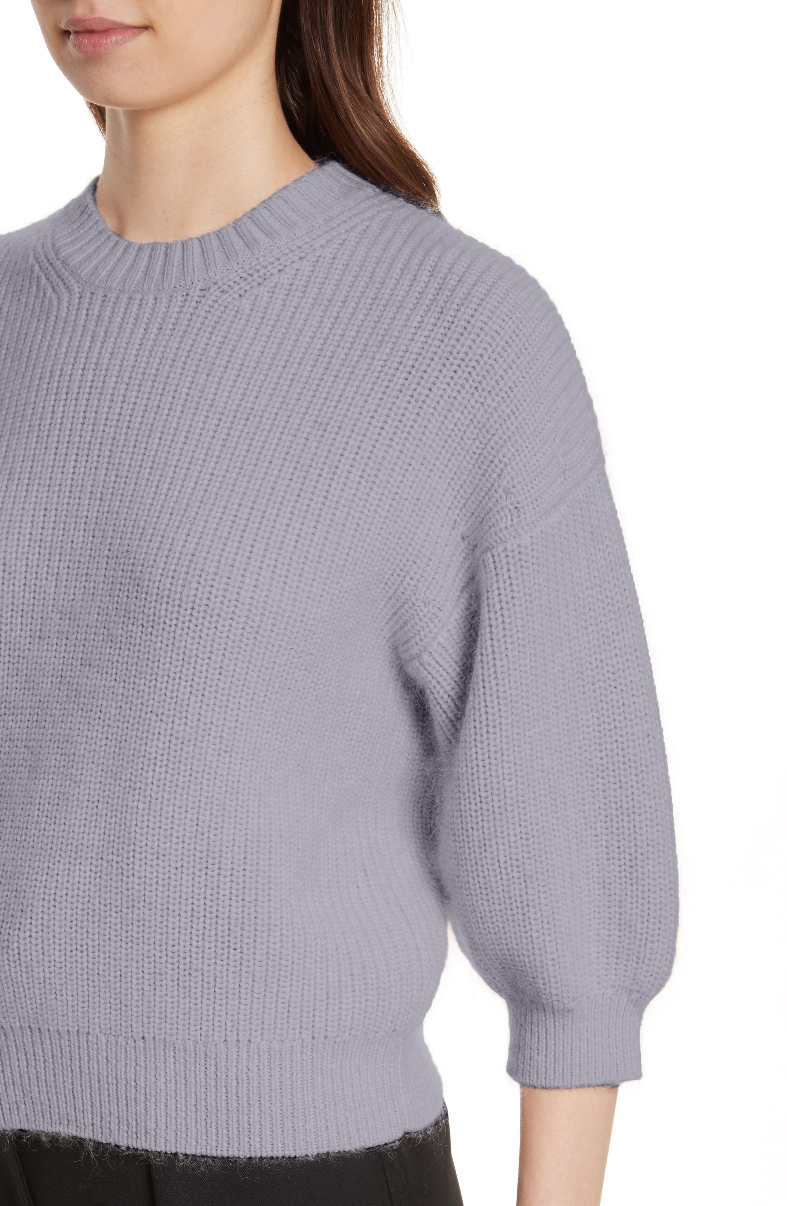 Puff Sleeve Wool & Mohair Blend Sweater,                             Alternate thumbnail 4, color,                             Charcoal