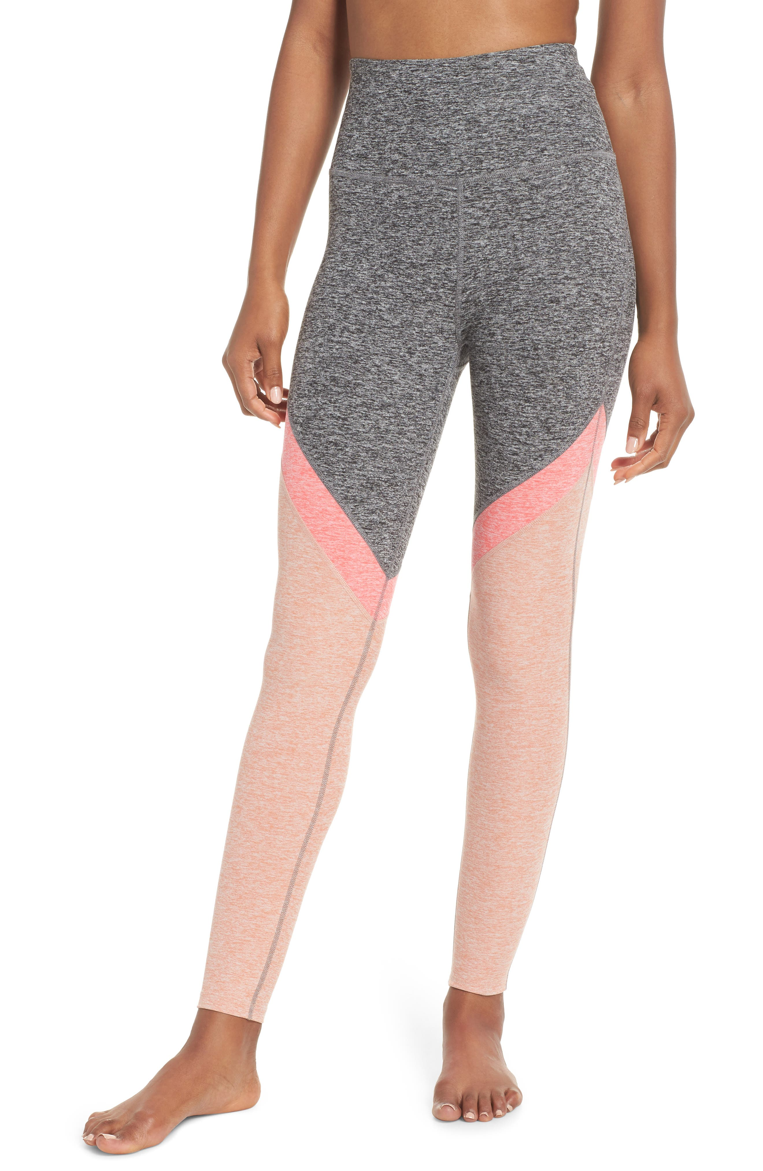 Space Dye High Waist Leggings,                         Main,                         color, Pink Shell Tri Panel