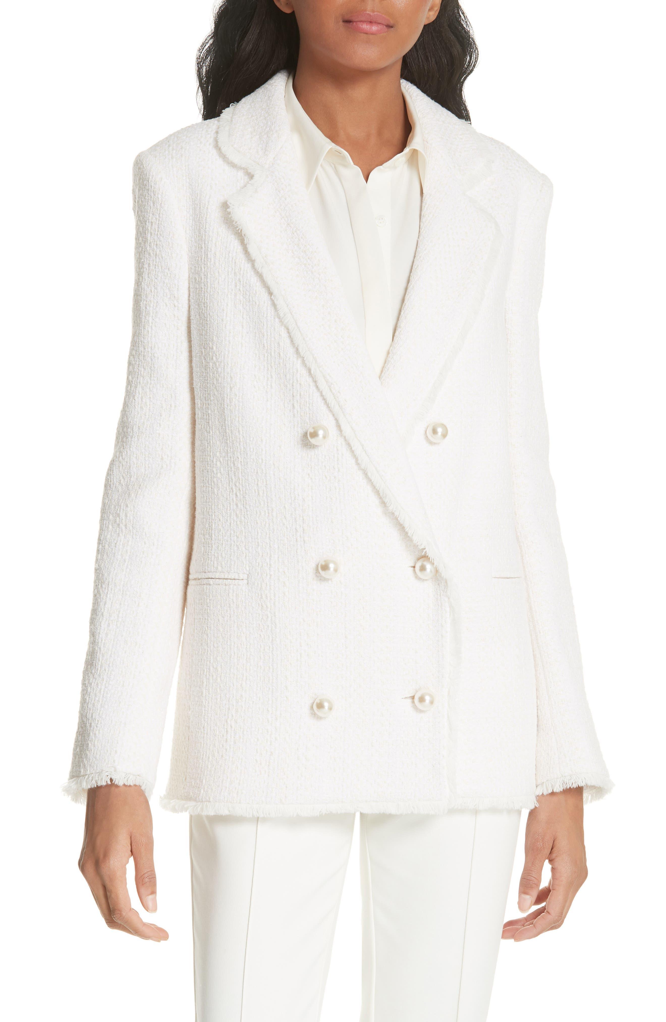 HELENE BERMAN Oversize Tweed Blazer in Ivory