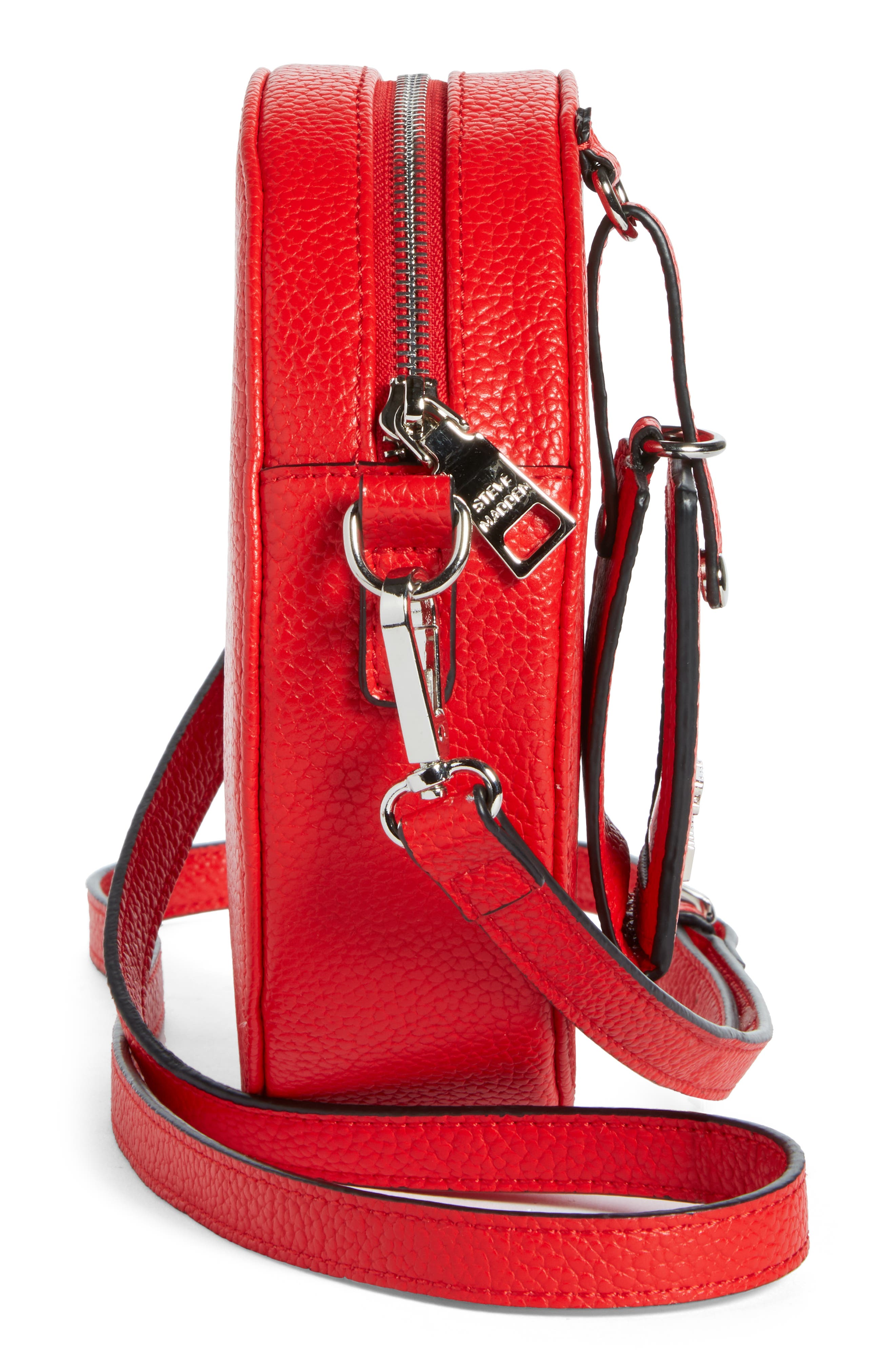 Pebbled Faux Leather Canteen Bag,                             Alternate thumbnail 5, color,                             Red