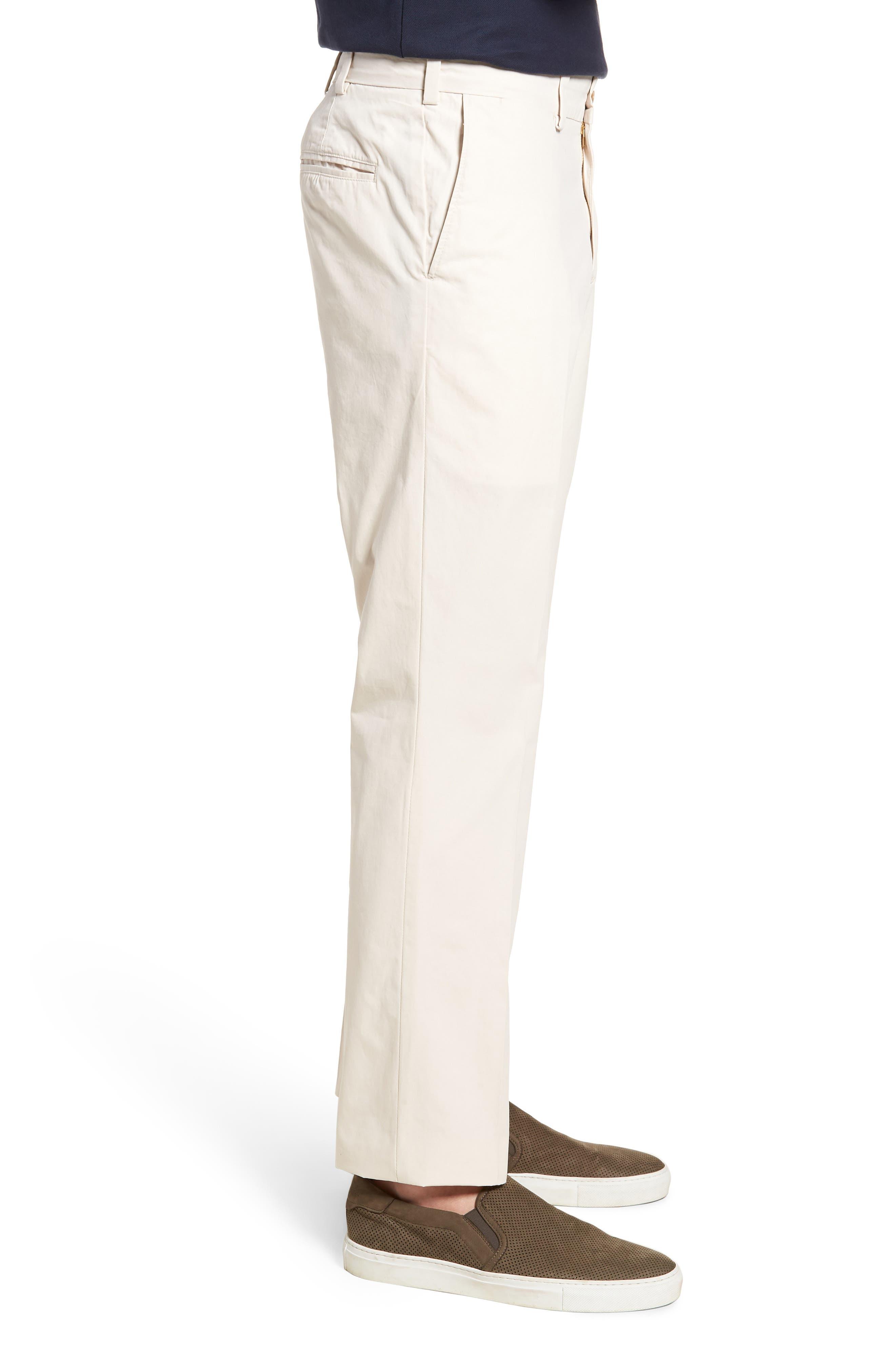 M3 Straight Fit Flat Front Tropical Poplin Pants,                             Alternate thumbnail 3, color,                             Sand