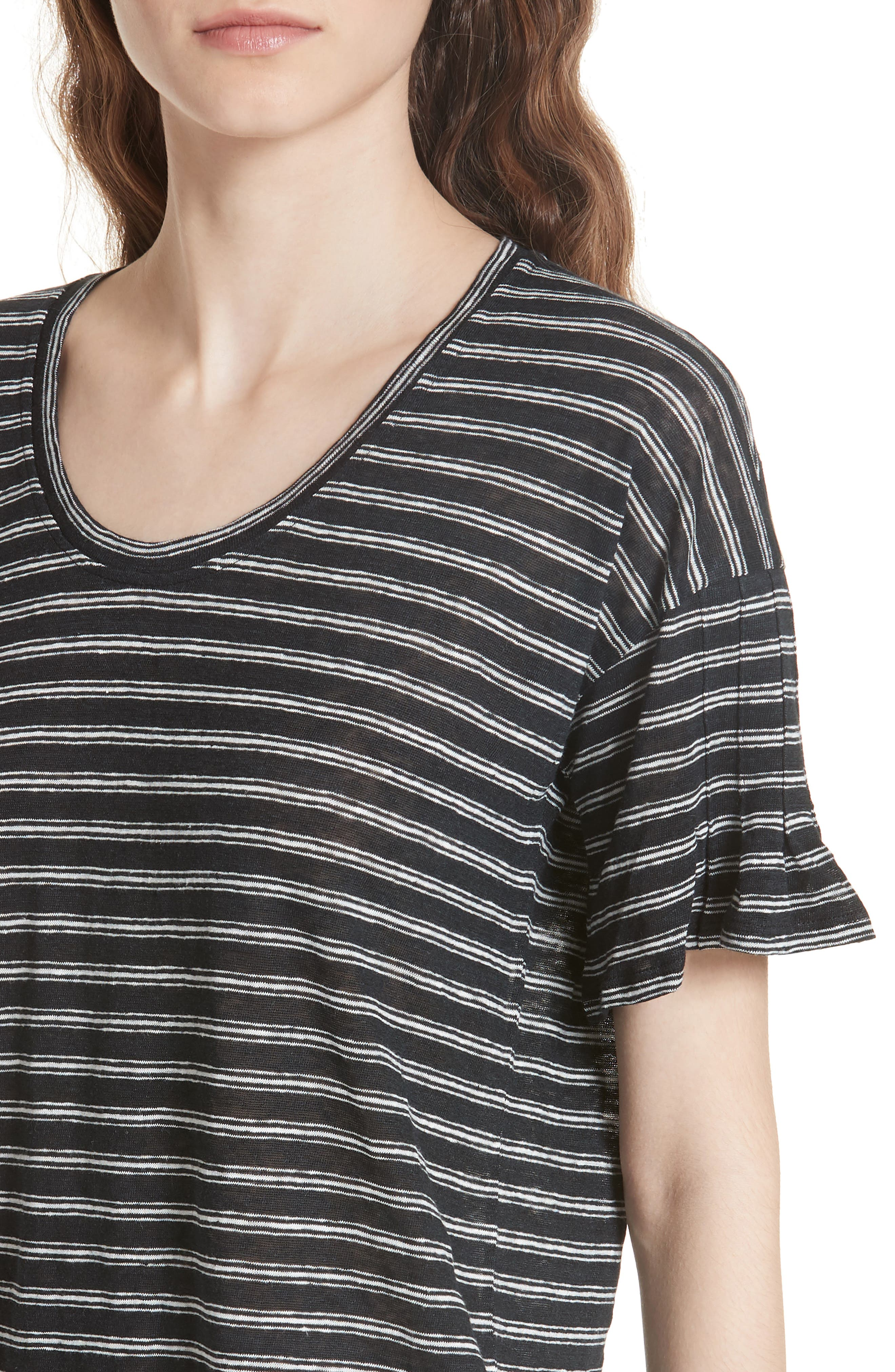 Adaira Stripe Linen Tee,                             Alternate thumbnail 4, color,                             Caviar/ Porcelain