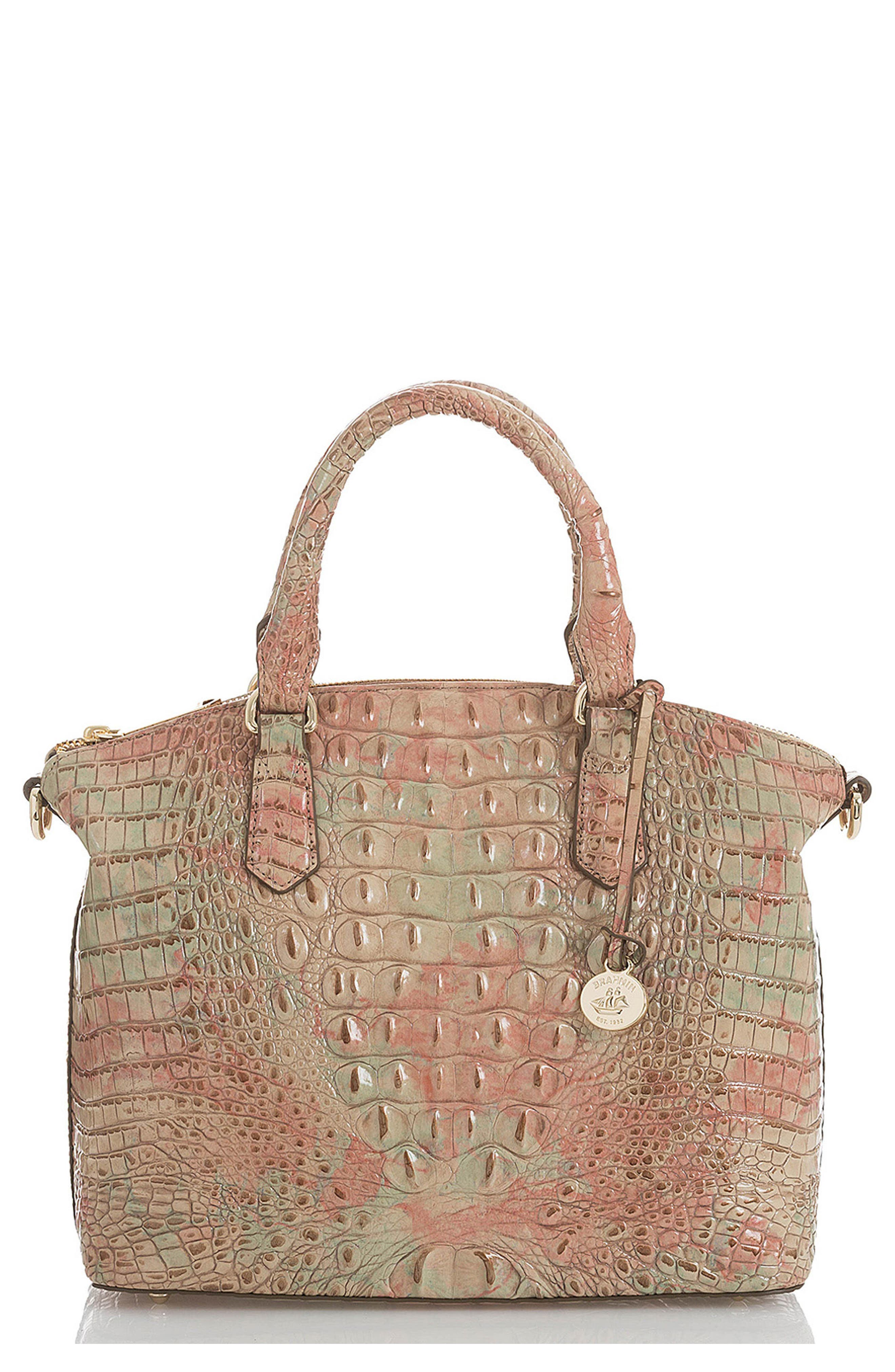 'Medium Duxbury' Croc Embossed Leather Satchel,                             Main thumbnail 1, color,                             Sahara