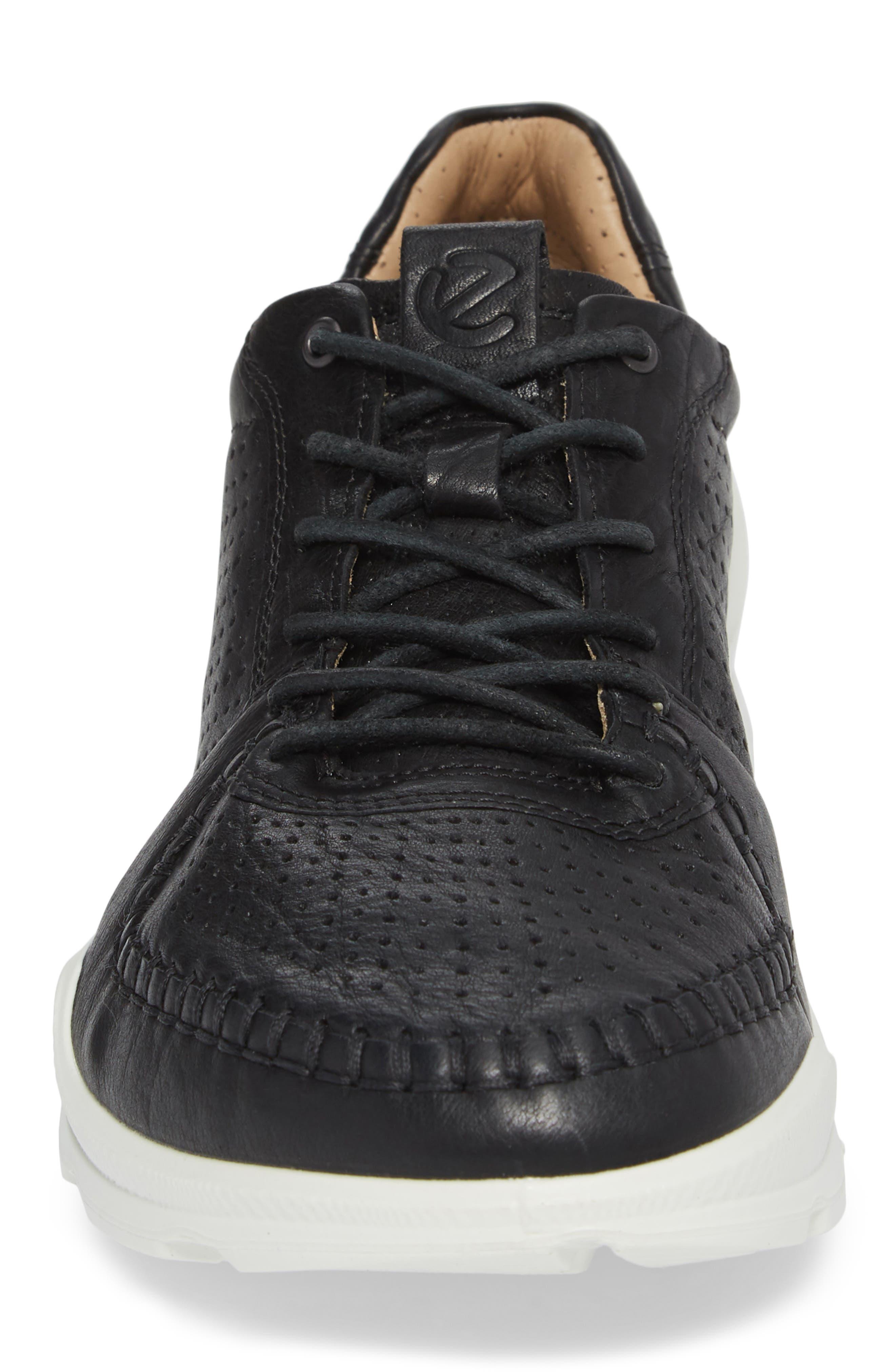 BIOM Street Moc Toe Sneaker,                             Alternate thumbnail 4, color,                             Black Leather