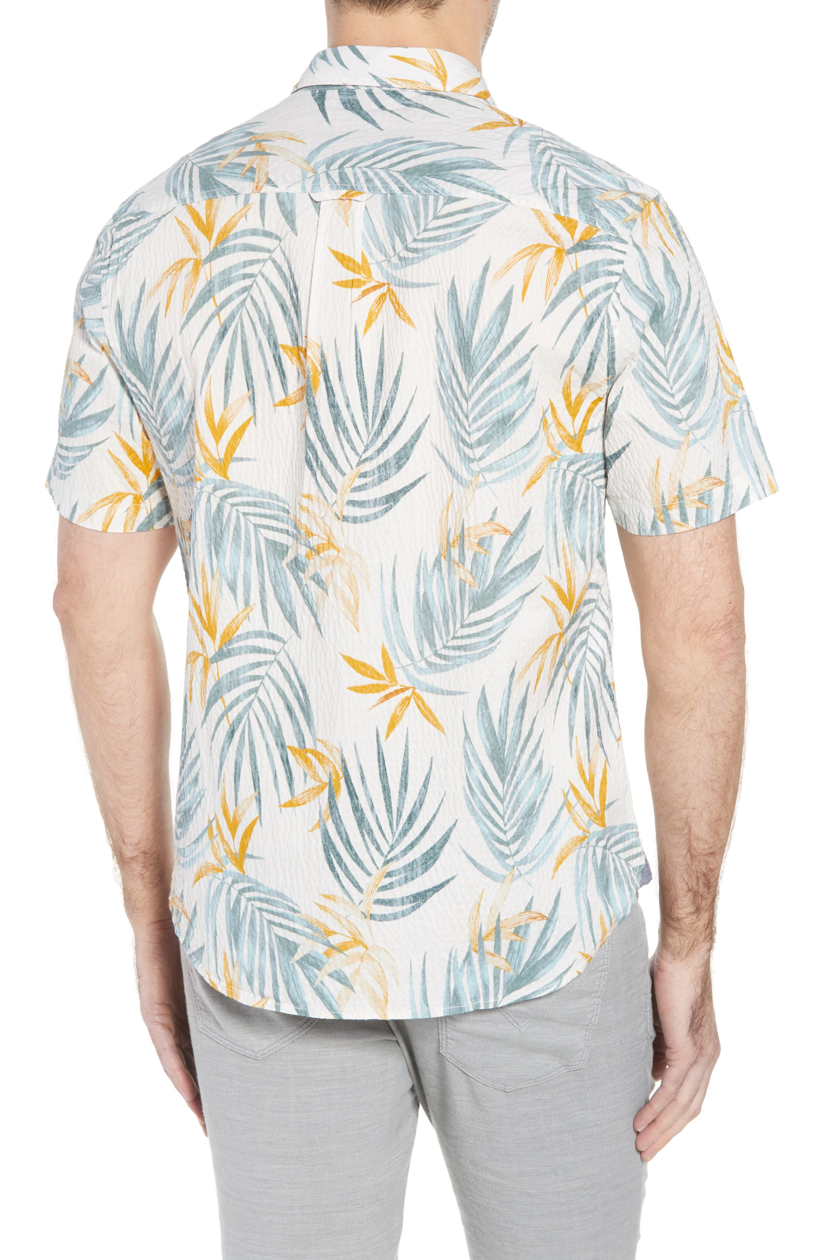 Fiesta Fronds Seersucker Sport Shirt,                             Alternate thumbnail 3, color,                             Coconut Cream