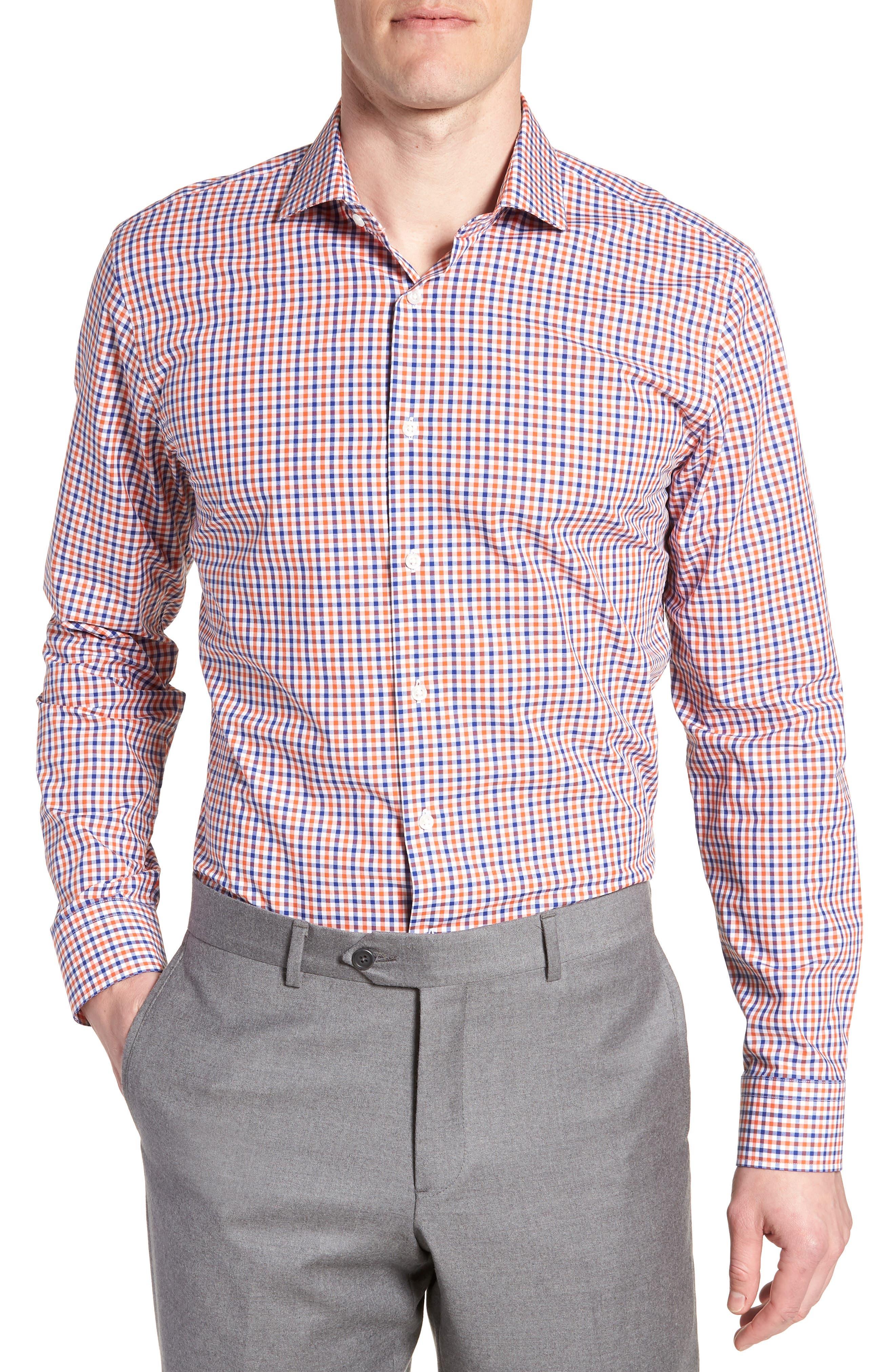 Trim Fit Check Dress Shirt,                         Main,                         color, Orange Rust