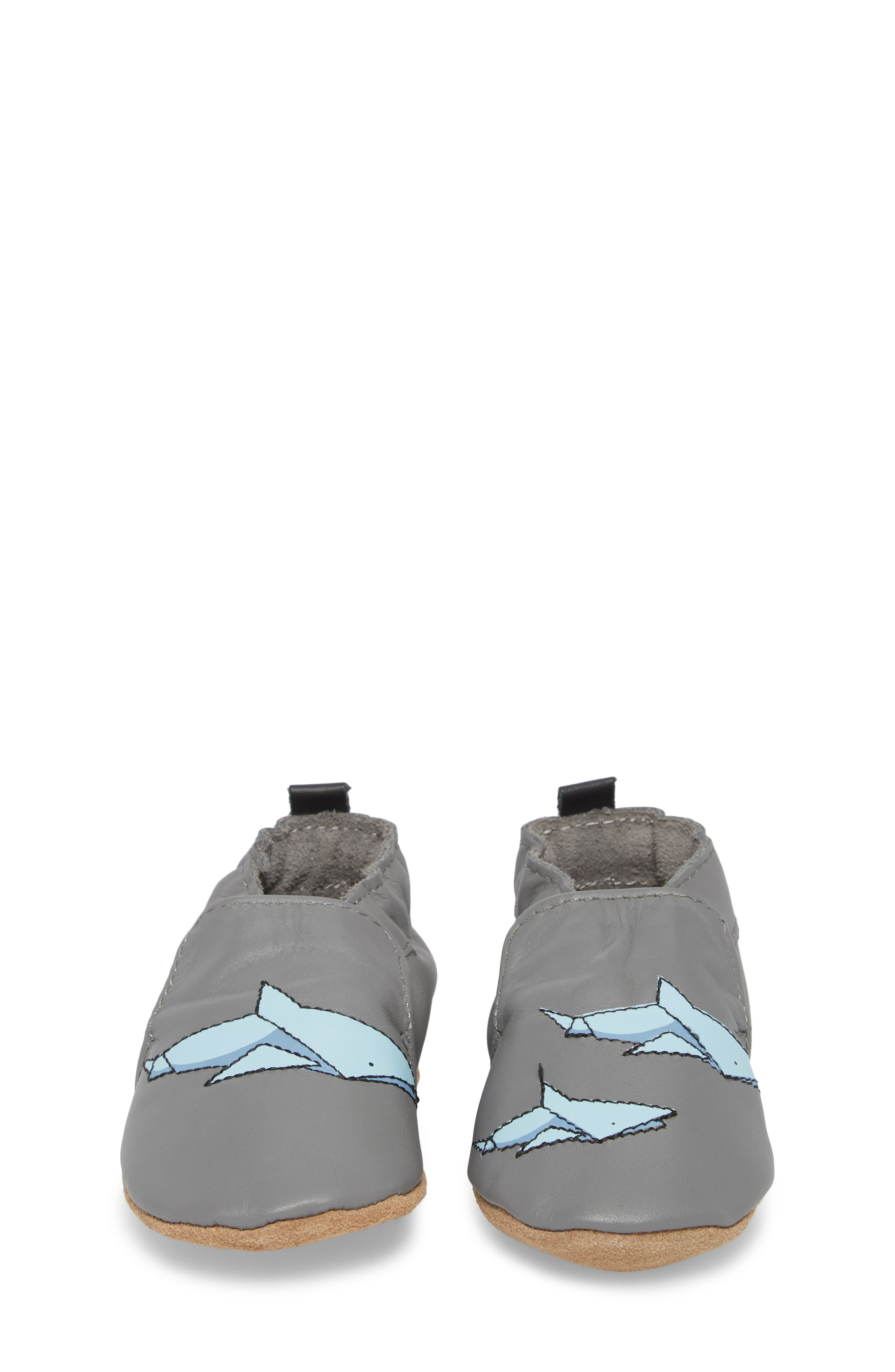 Sharktastic Moccasin Crib Shoe,                             Alternate thumbnail 5, color,                             Grey