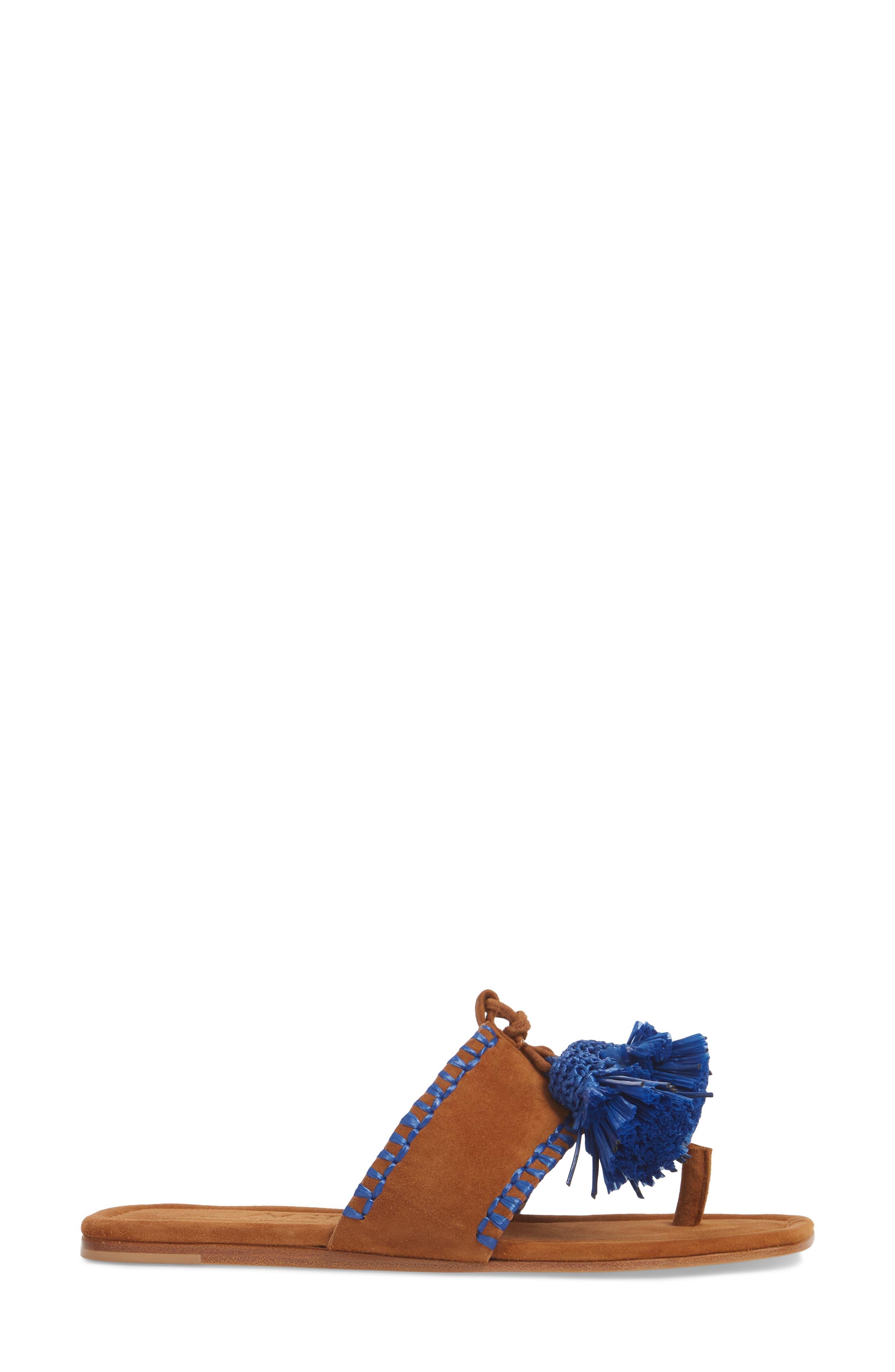 Raffia Tassel Sandal,                             Alternate thumbnail 3, color,                             Cuoio Suede