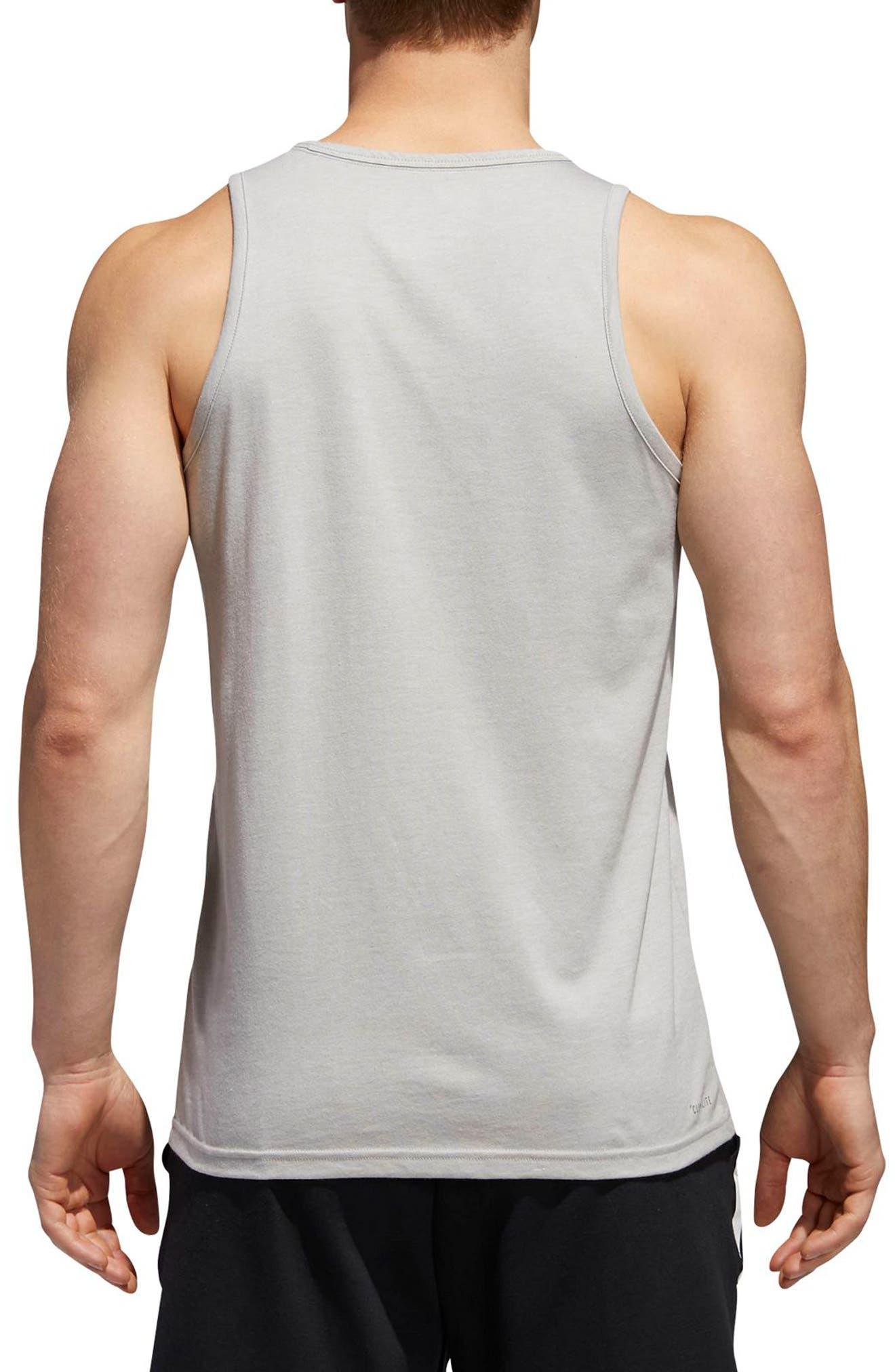 Slim Fit Heathered Logo Tank,                             Alternate thumbnail 2, color,                             Medium Grey Heather / Black