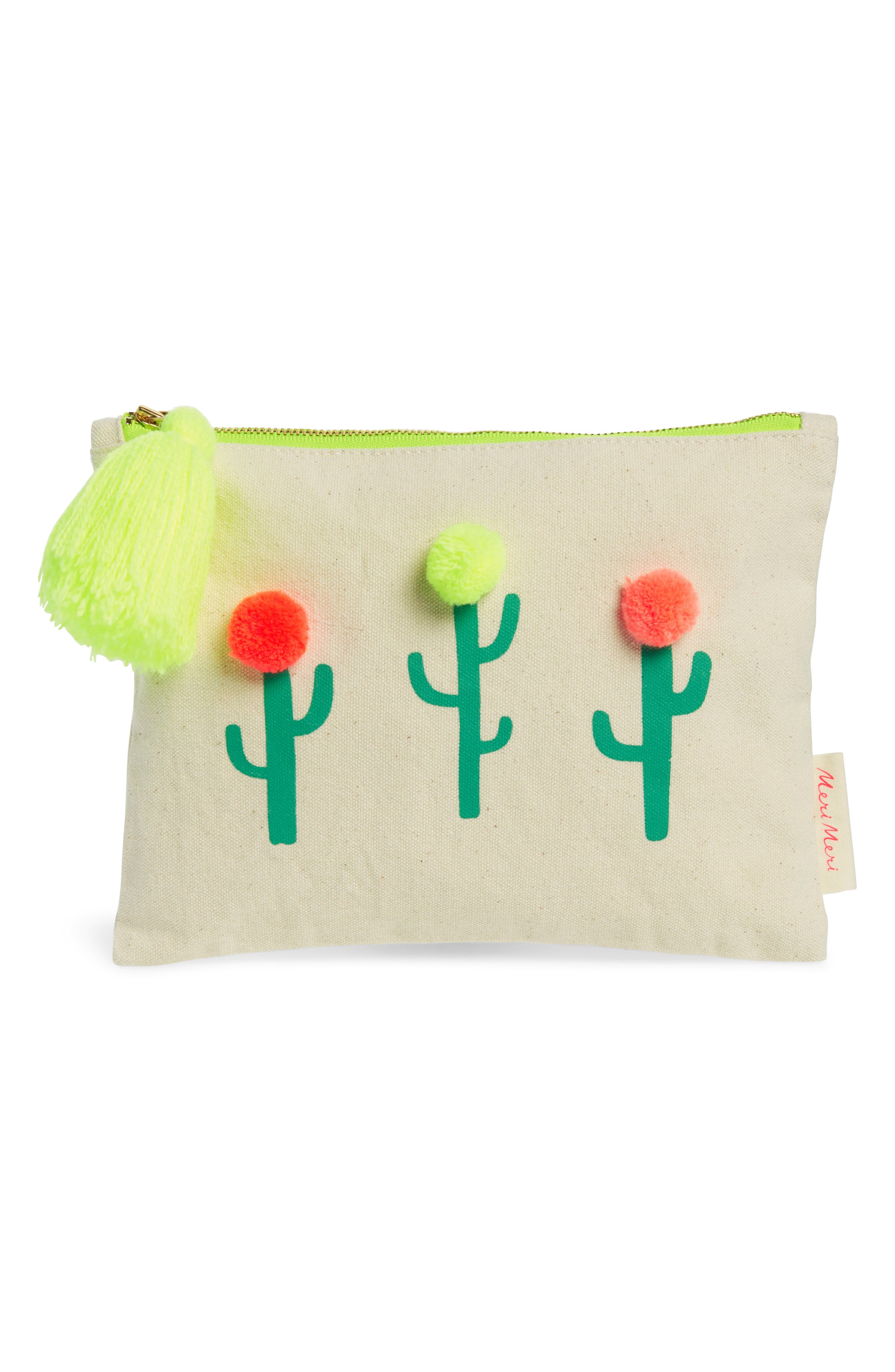 Meri Meri Pompom Cactus Canvas Pouch (Girls)