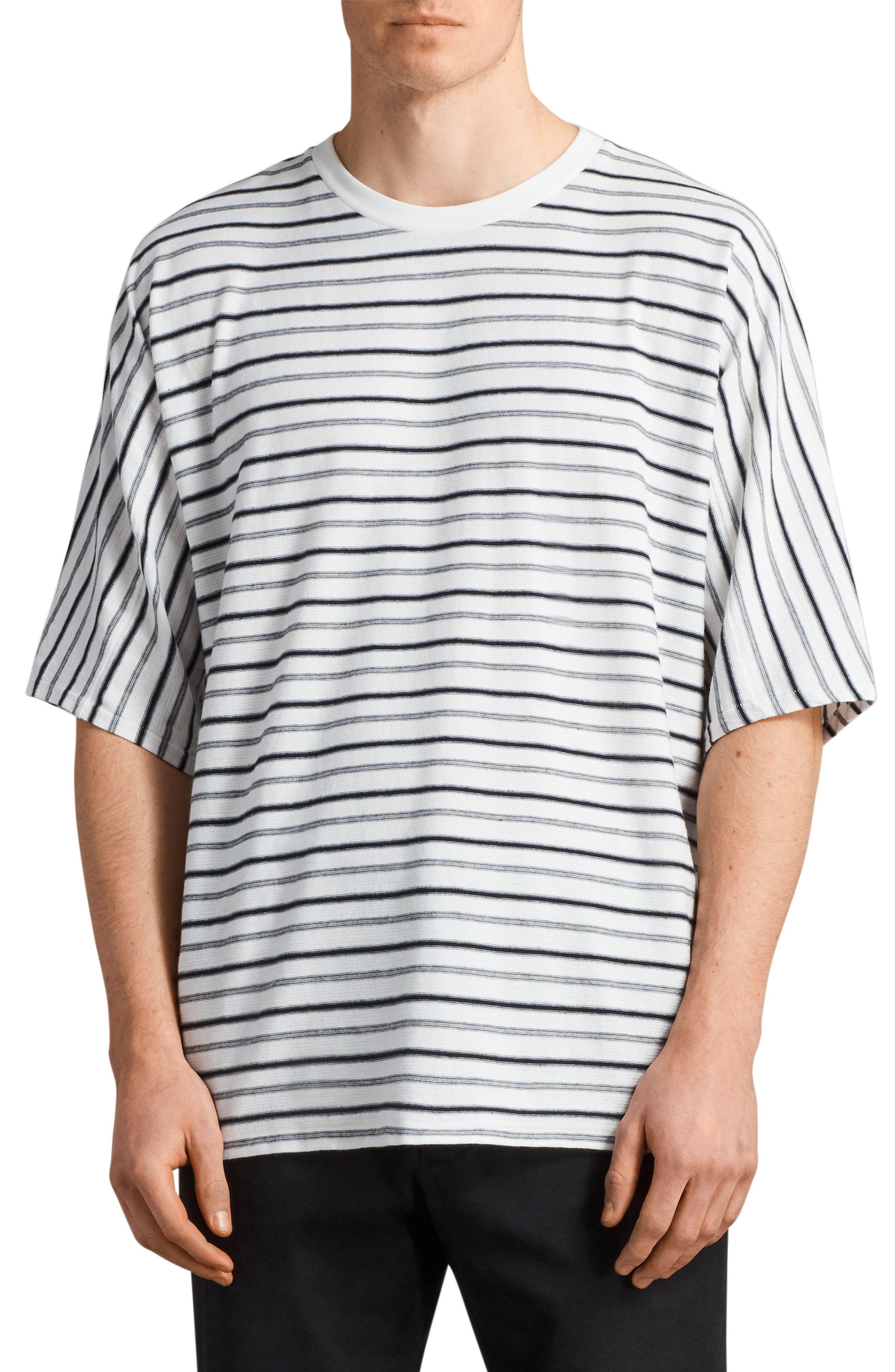 Jules Oversize Stripe T-Shirt,                         Main,                         color, Chk White/ Ink Navy