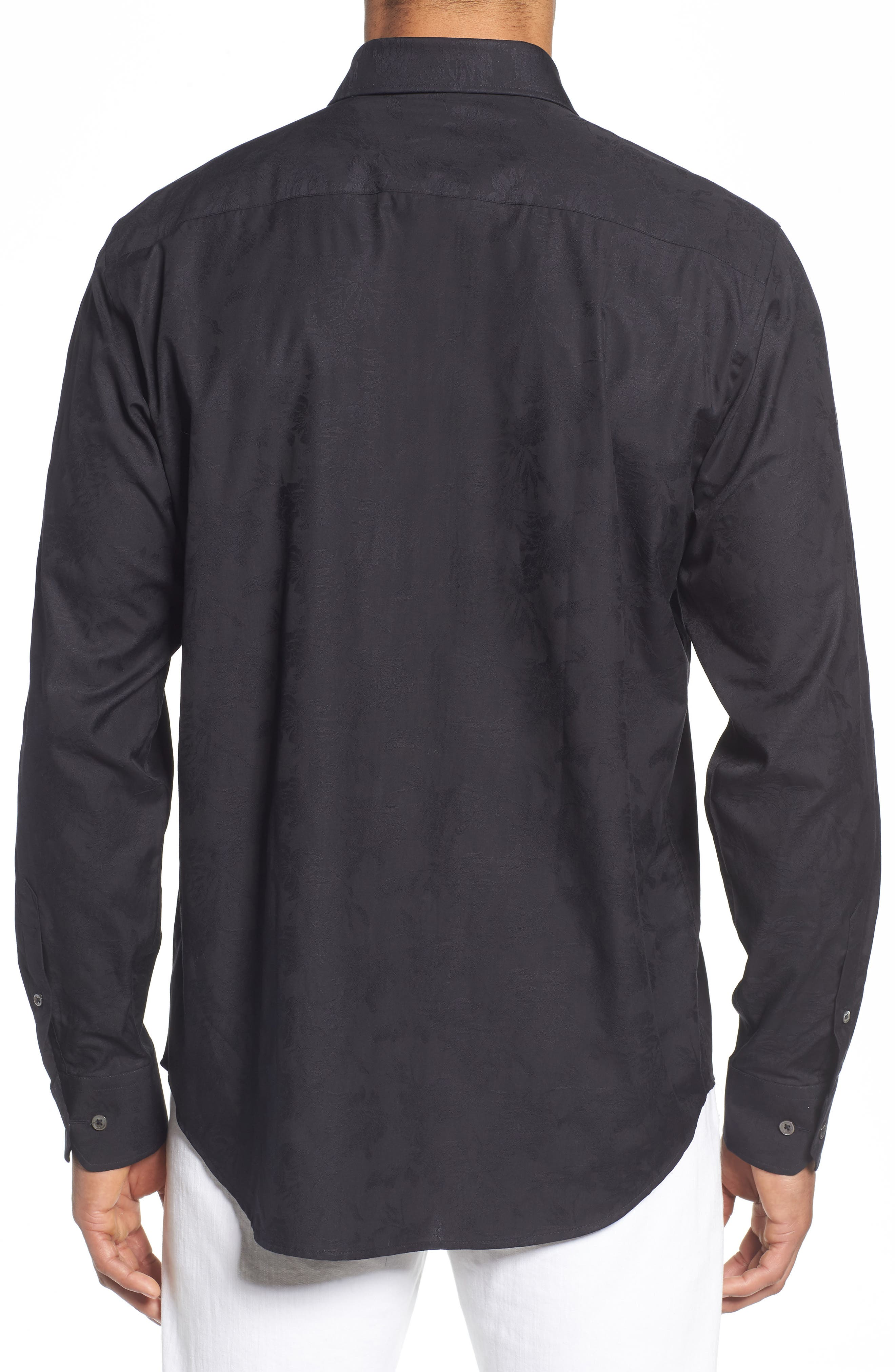 Classic Fit Tonal Jacquard Sport Shirt,                             Alternate thumbnail 3, color,                             Black
