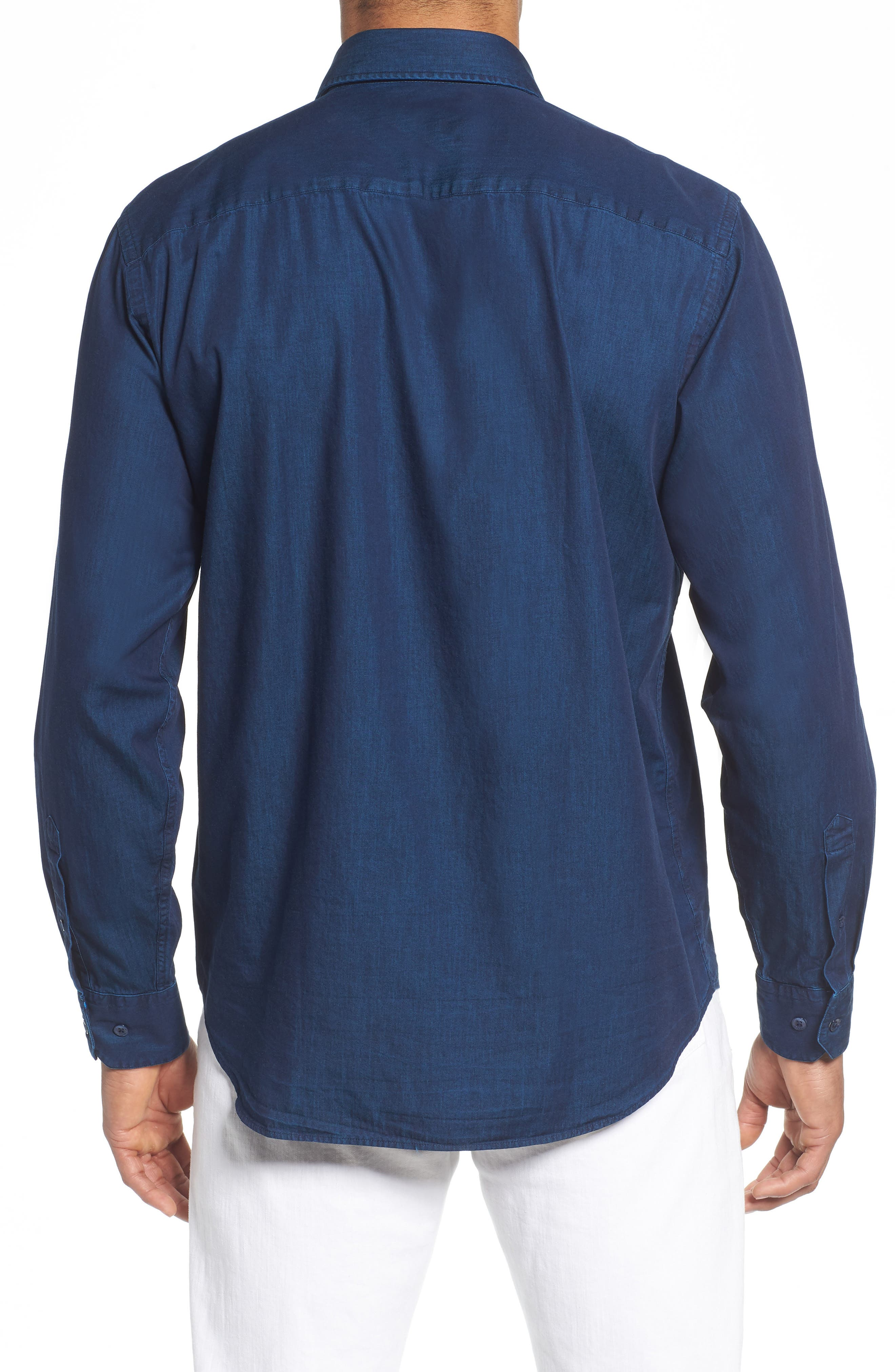 Classic Fit Indigo Sport Shirt,                             Alternate thumbnail 3, color,                             Navy