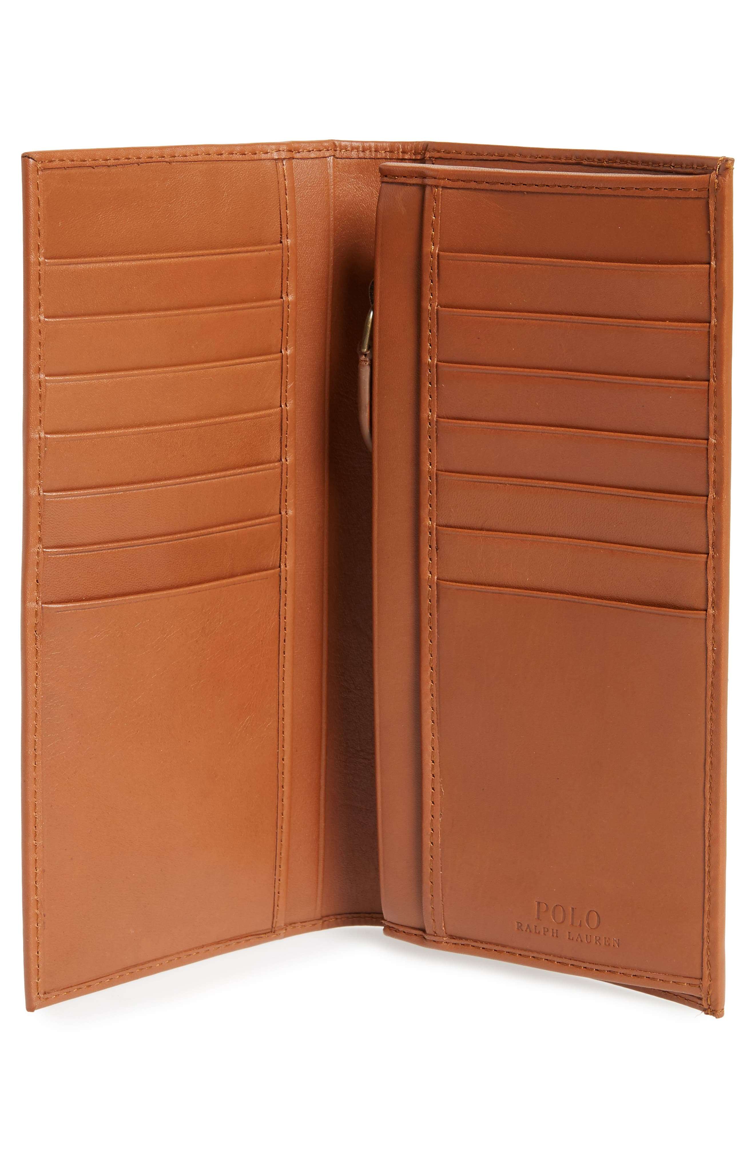 Tall Leather Wallet,                             Alternate thumbnail 2, color,                             Whiskey