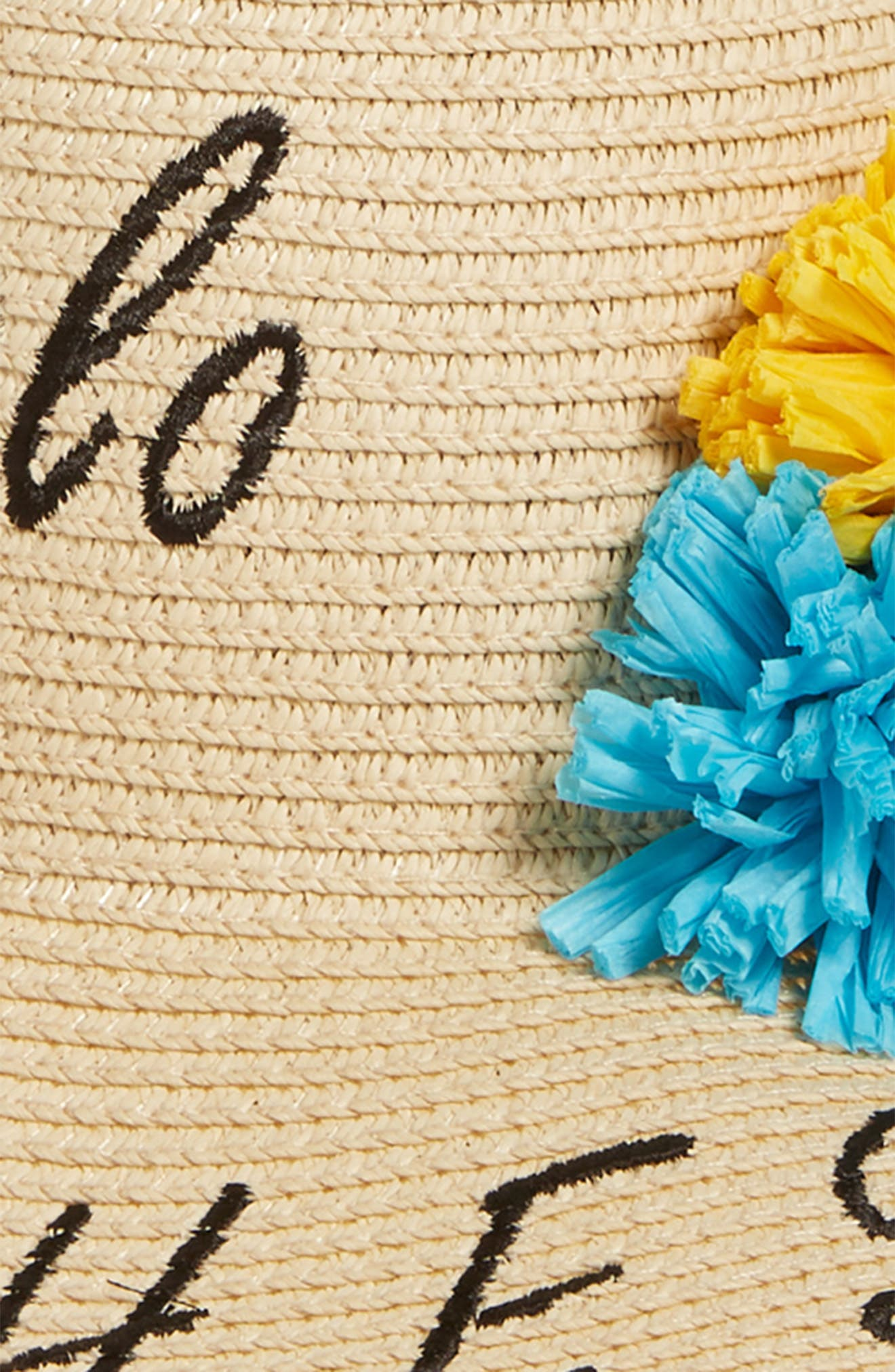 Verbiage Pom Straw Panama Hat,                             Alternate thumbnail 3, color,                             Natural