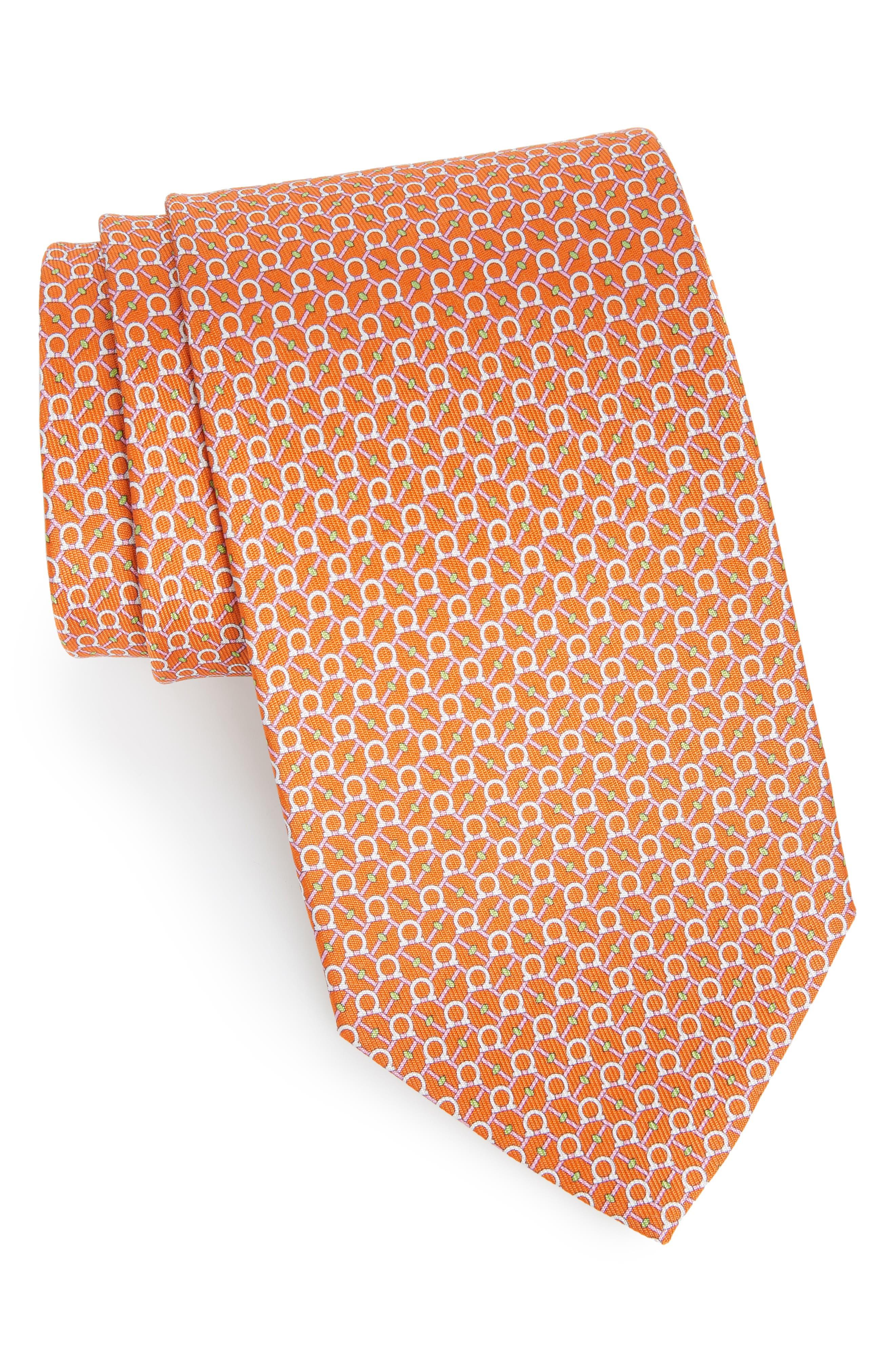 Eroe Geo Print Silk Tie,                         Main,                         color, Orange