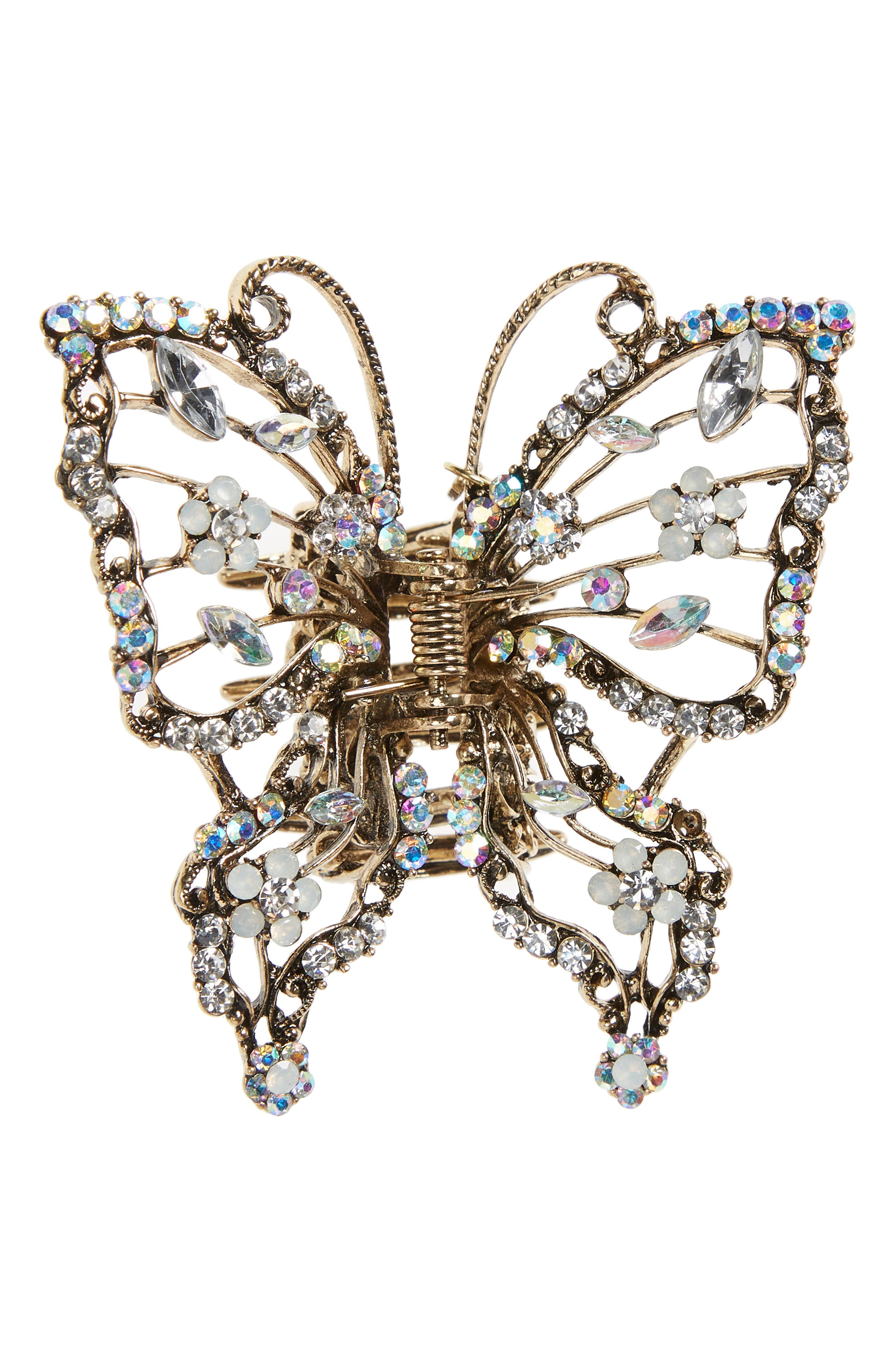 Crystal Embellished Butterfly Jaw Clip,                             Main thumbnail 1, color,                             Multi