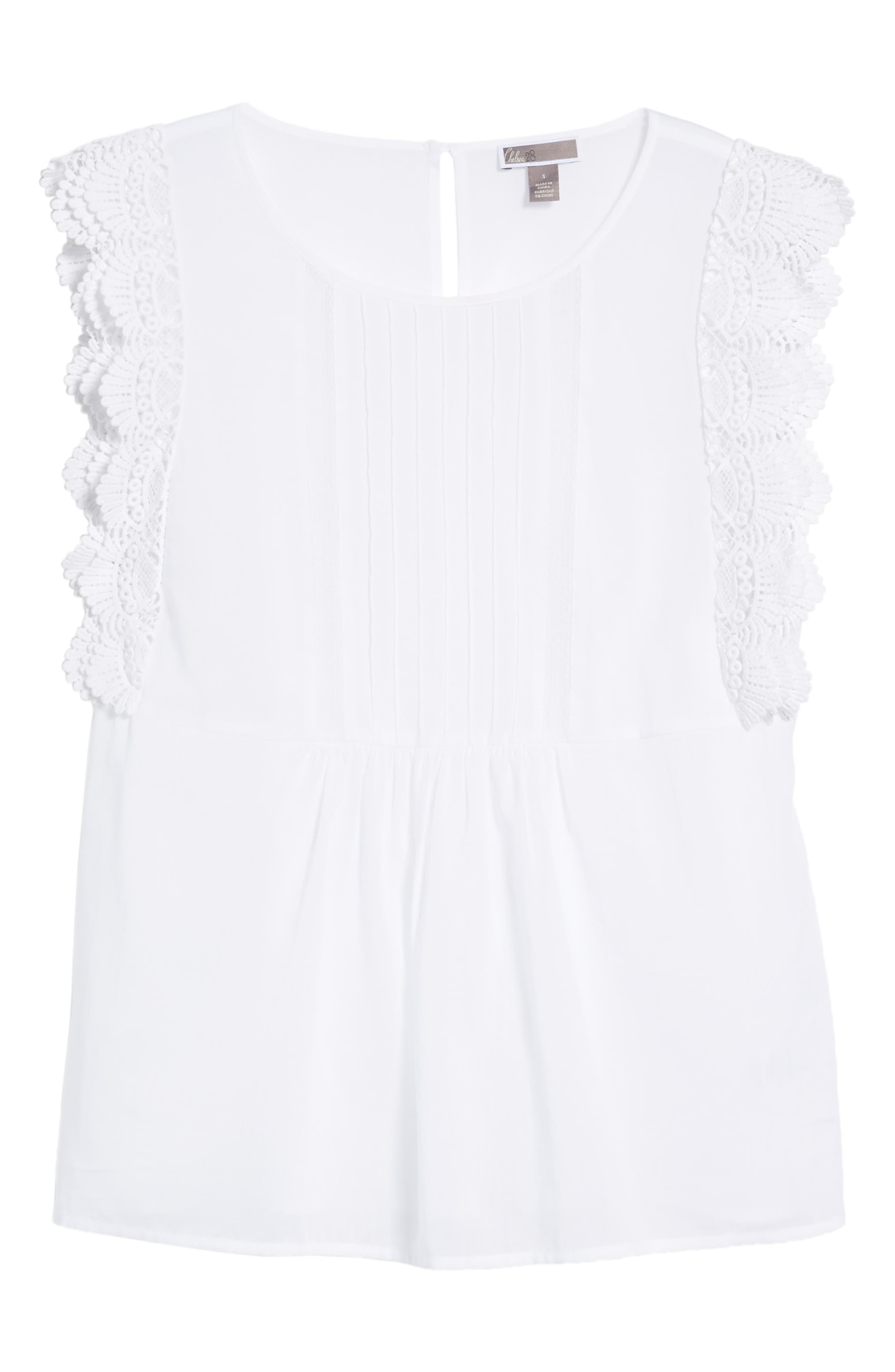 Lace Trim Top,                             Alternate thumbnail 7, color,                             White