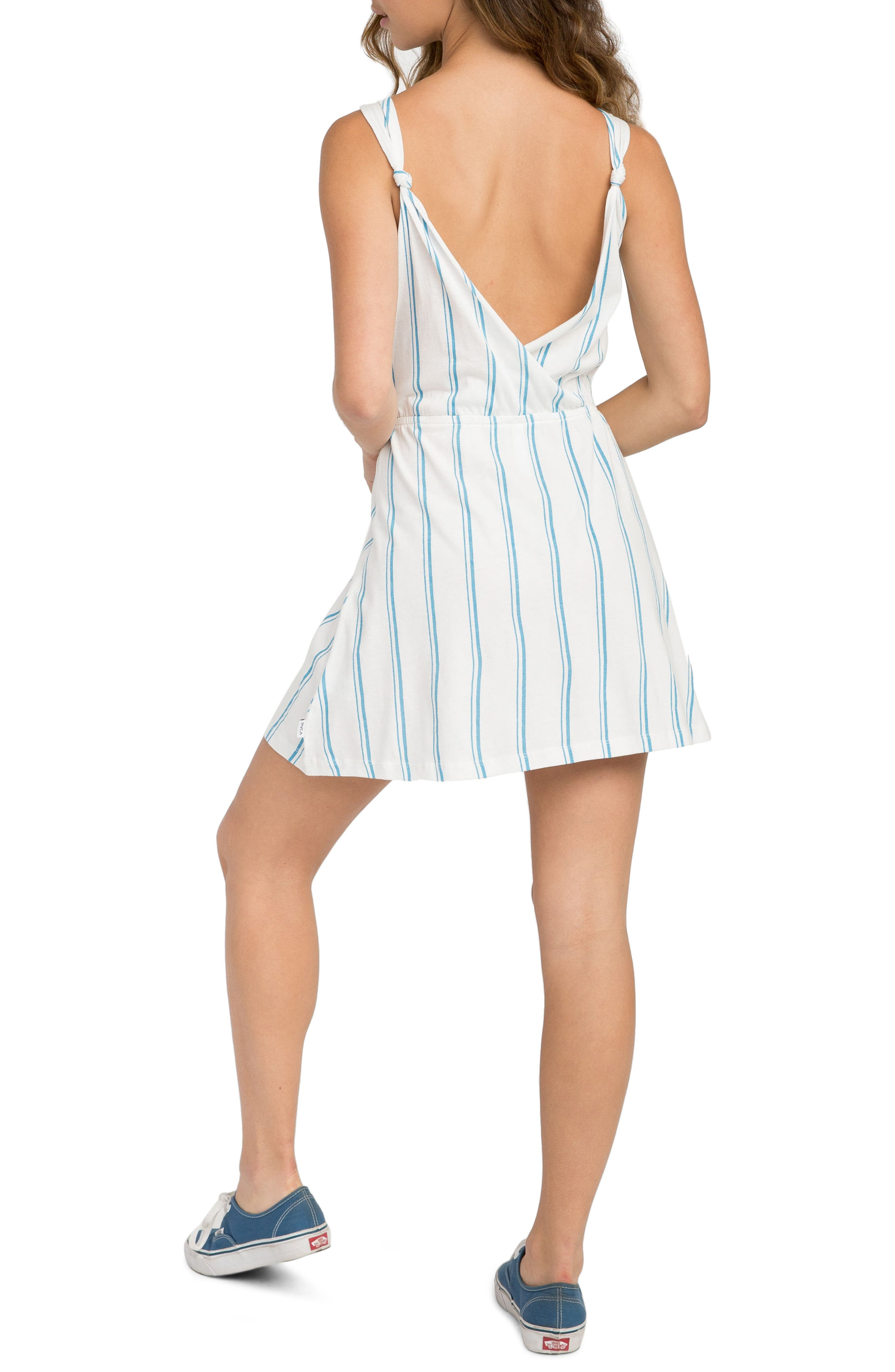 Peony Stripe Sundress,                             Alternate thumbnail 3, color,                             Vintage White