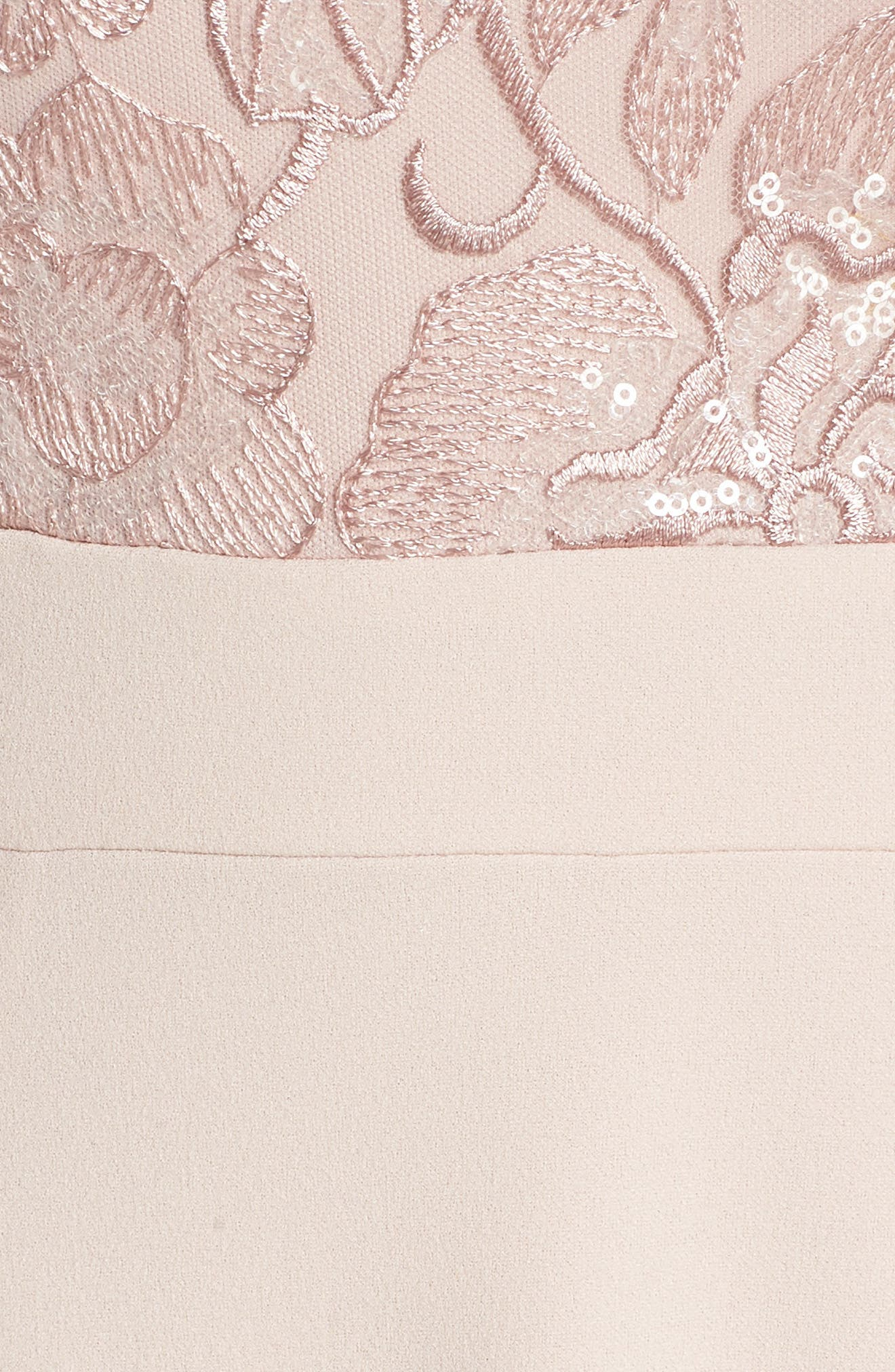 Embroidered Bodice Mermaid Gown,                             Alternate thumbnail 5, color,                             Blush
