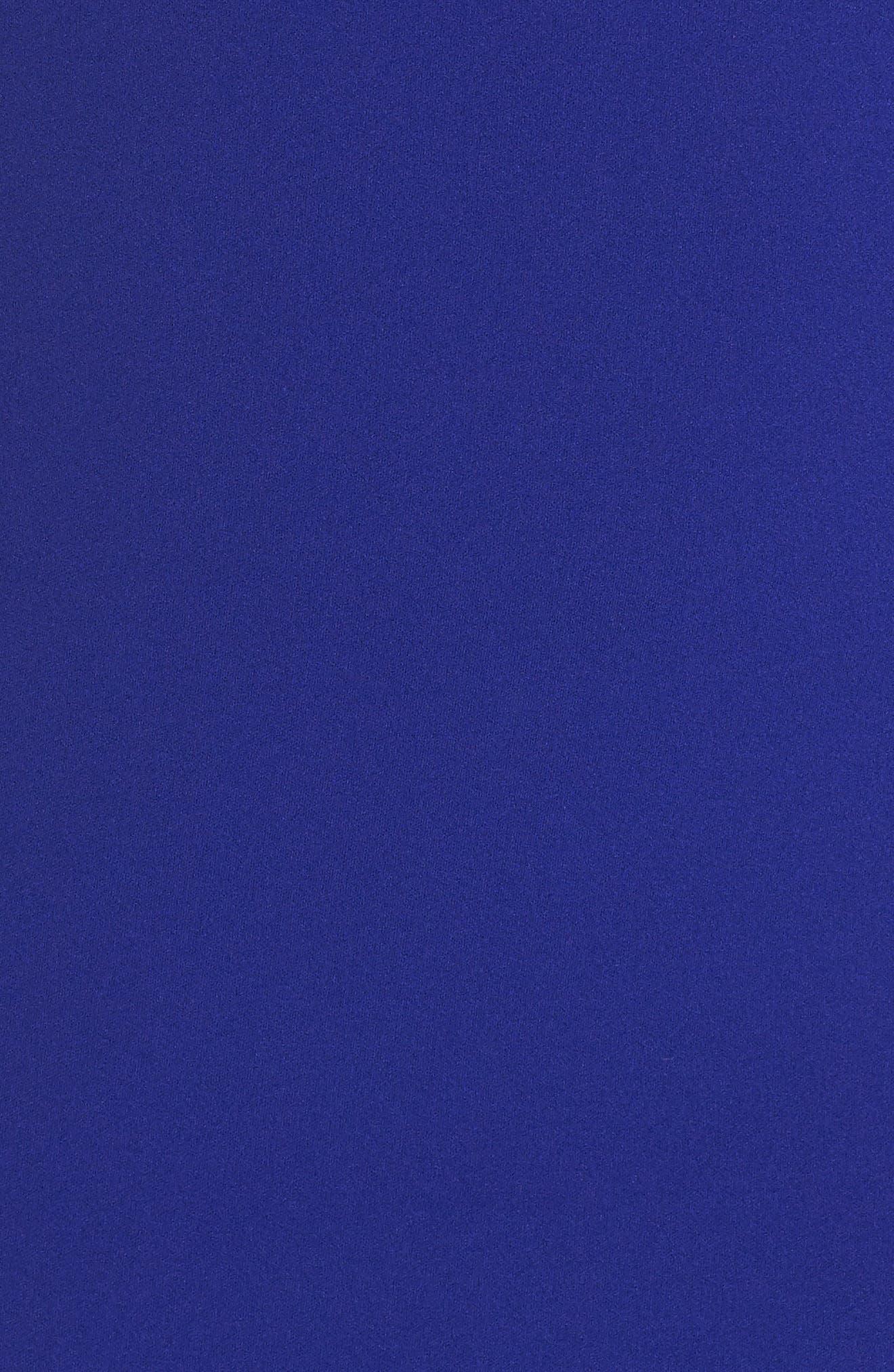 Ruffle Hem Scuba Crepe Body-Con Dress,                             Alternate thumbnail 6, color,                             Cobalt