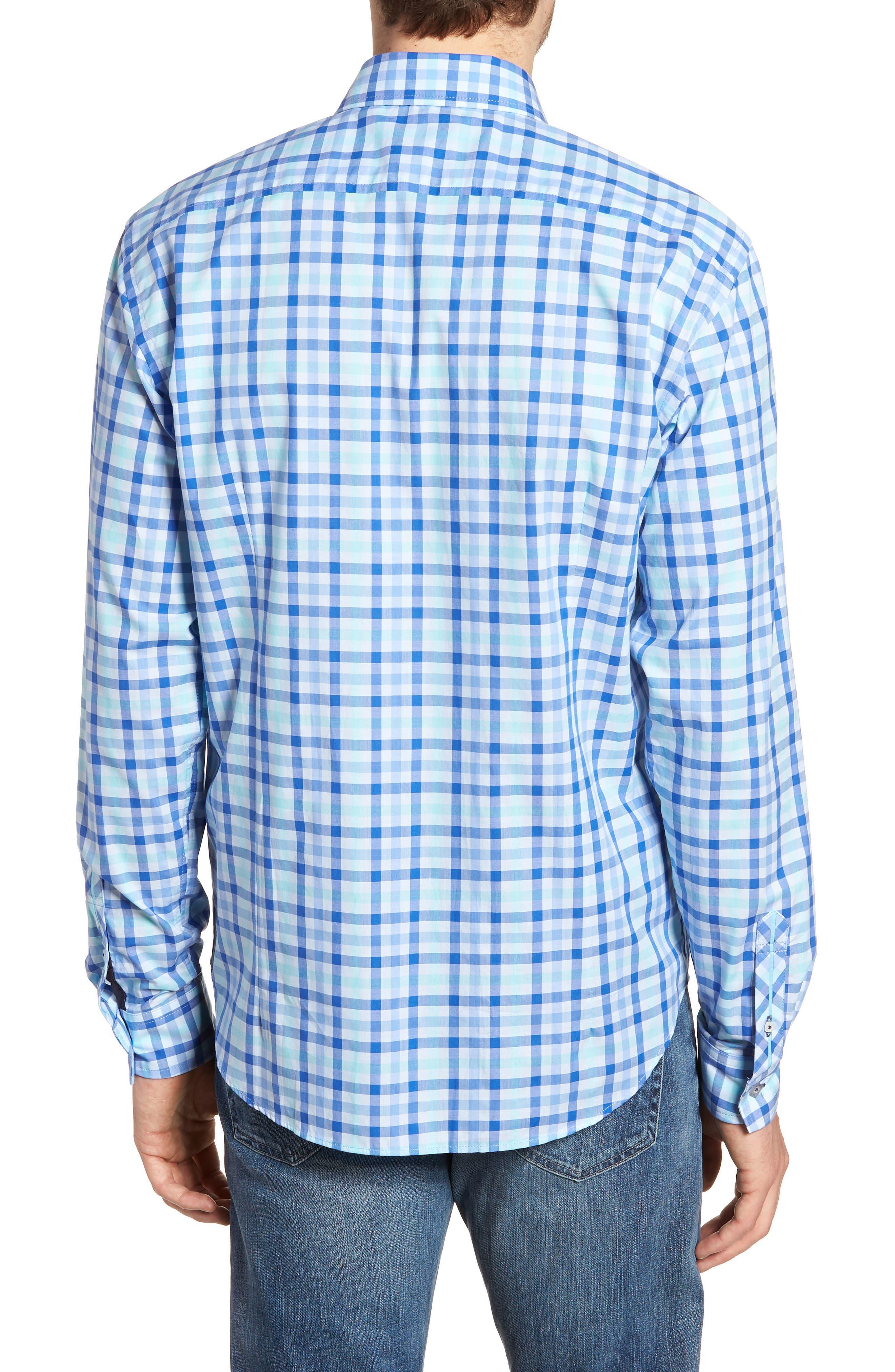 Slim Fit Check Sport Shirt,                             Alternate thumbnail 3, color,                             Medium Blue