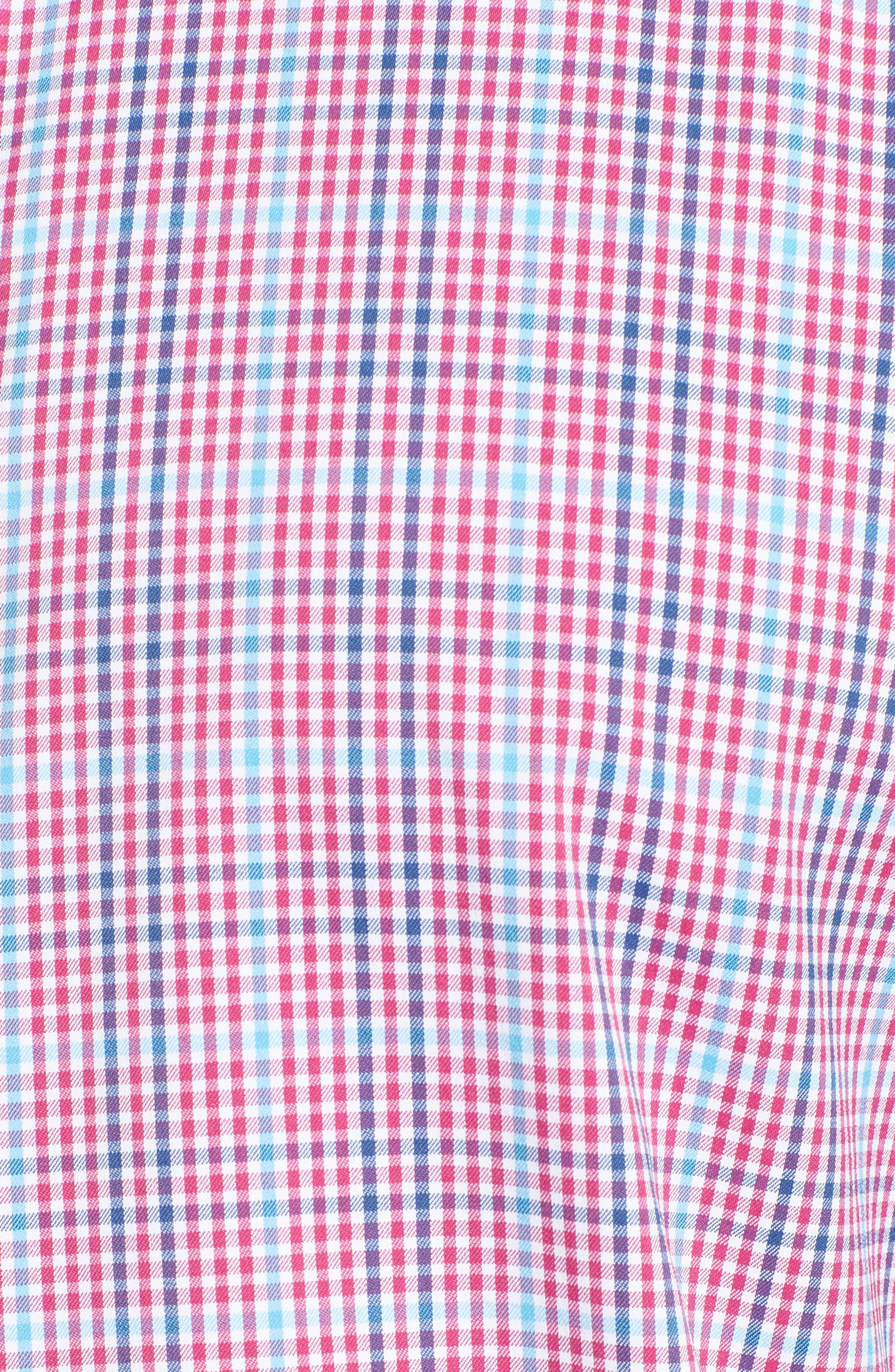 Classic Fit Pin Check Performance Sport Shirt,                             Alternate thumbnail 5, color,                             Berry
