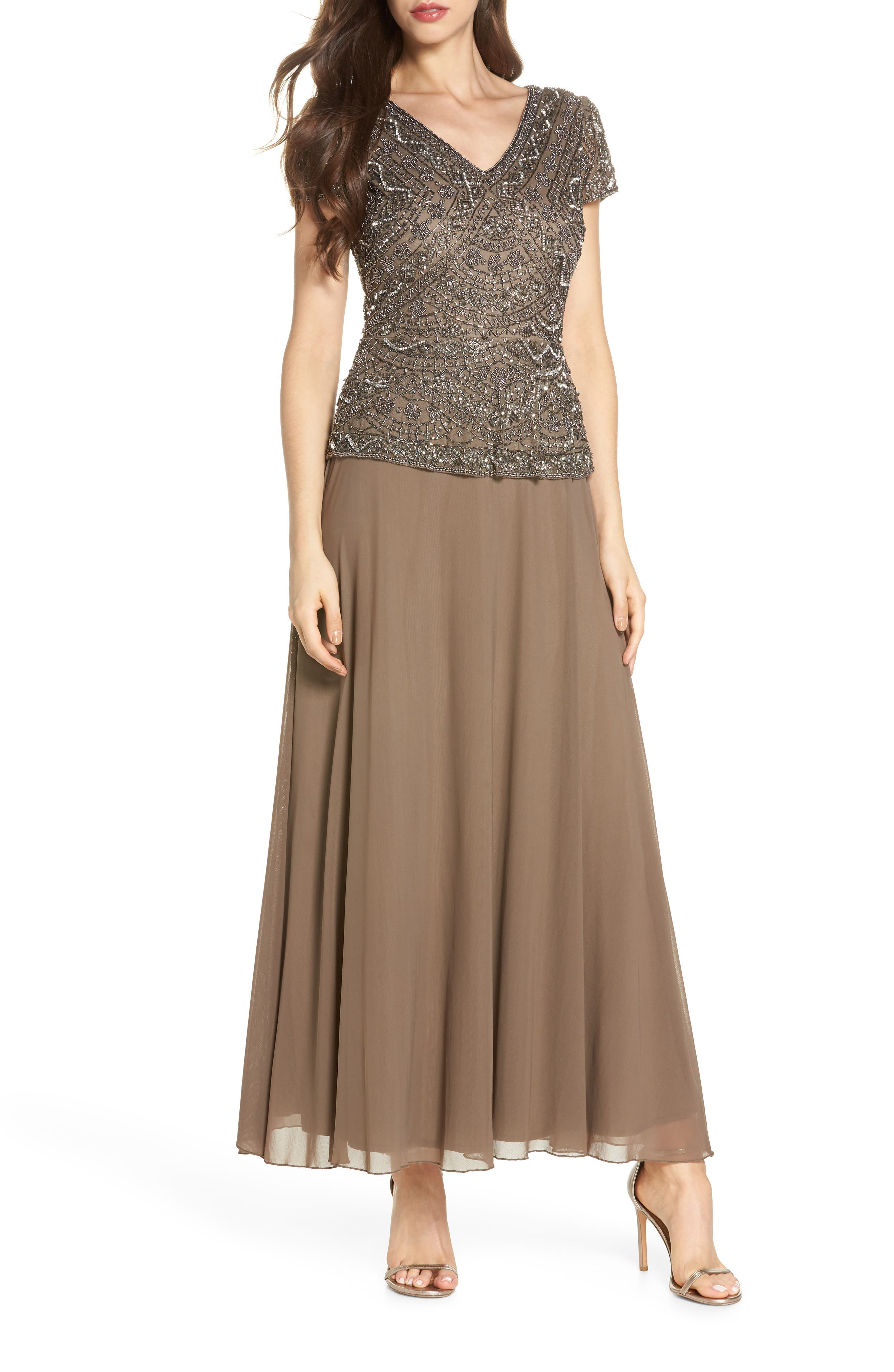 Beaded V-Neck Mock Two-Piece Gown,                             Main thumbnail 1, color,                             Mocha