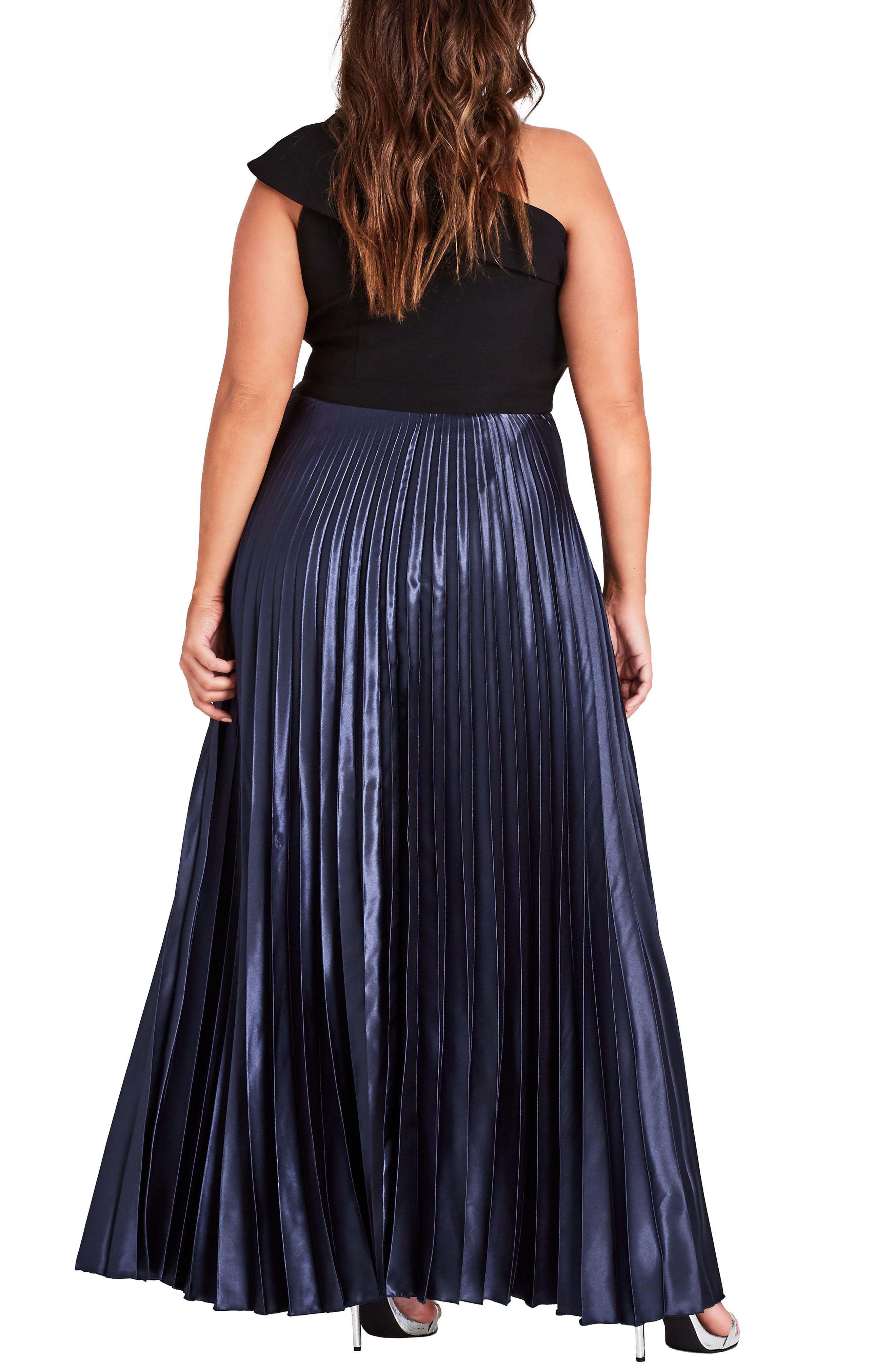 Rosa One Shoulder Pleat Maxi Dress,                             Alternate thumbnail 2, color,                             Smoke