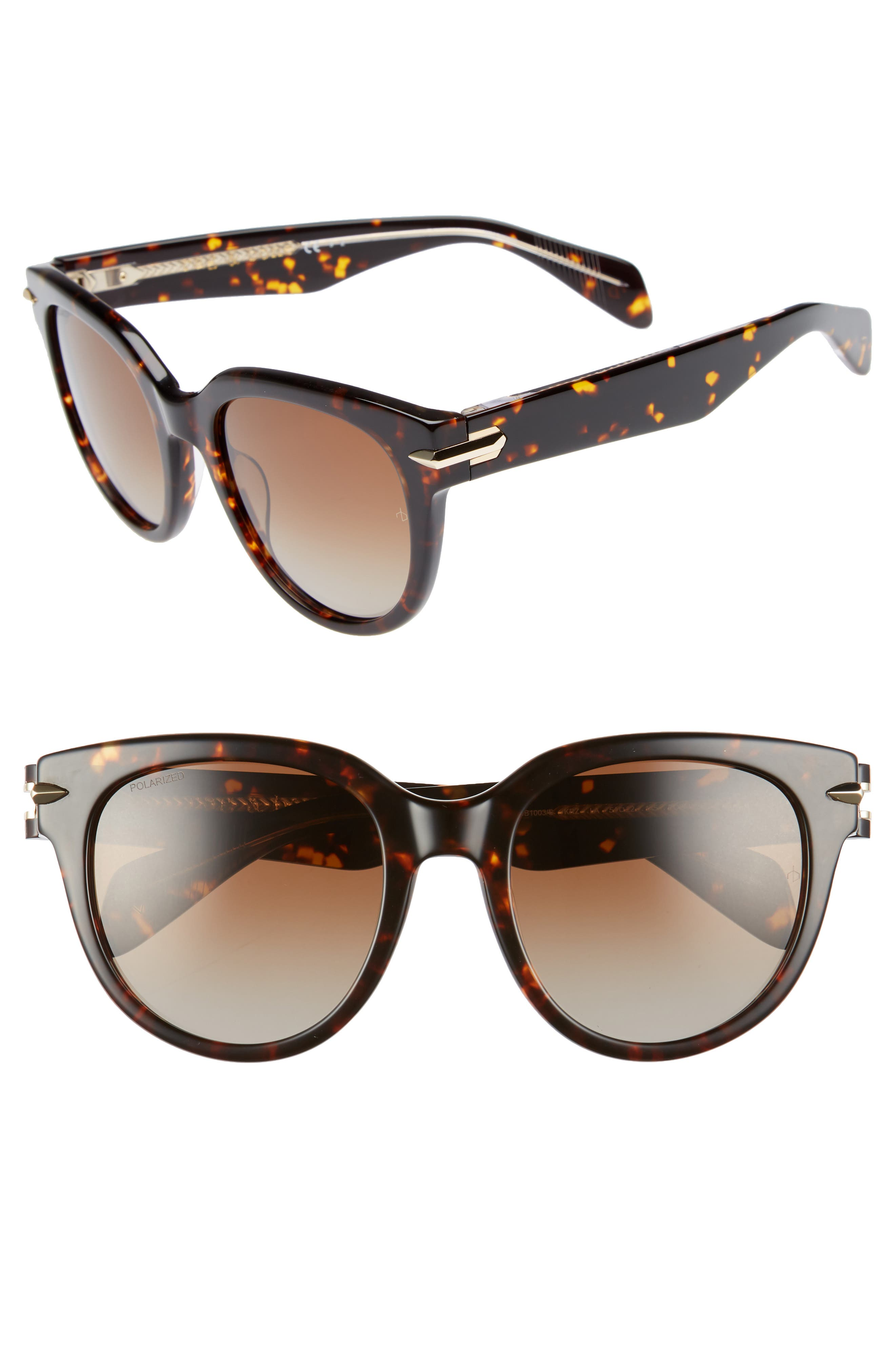 54mm Round Sunglasses,                             Main thumbnail 1, color,                             Havana/ Crystal