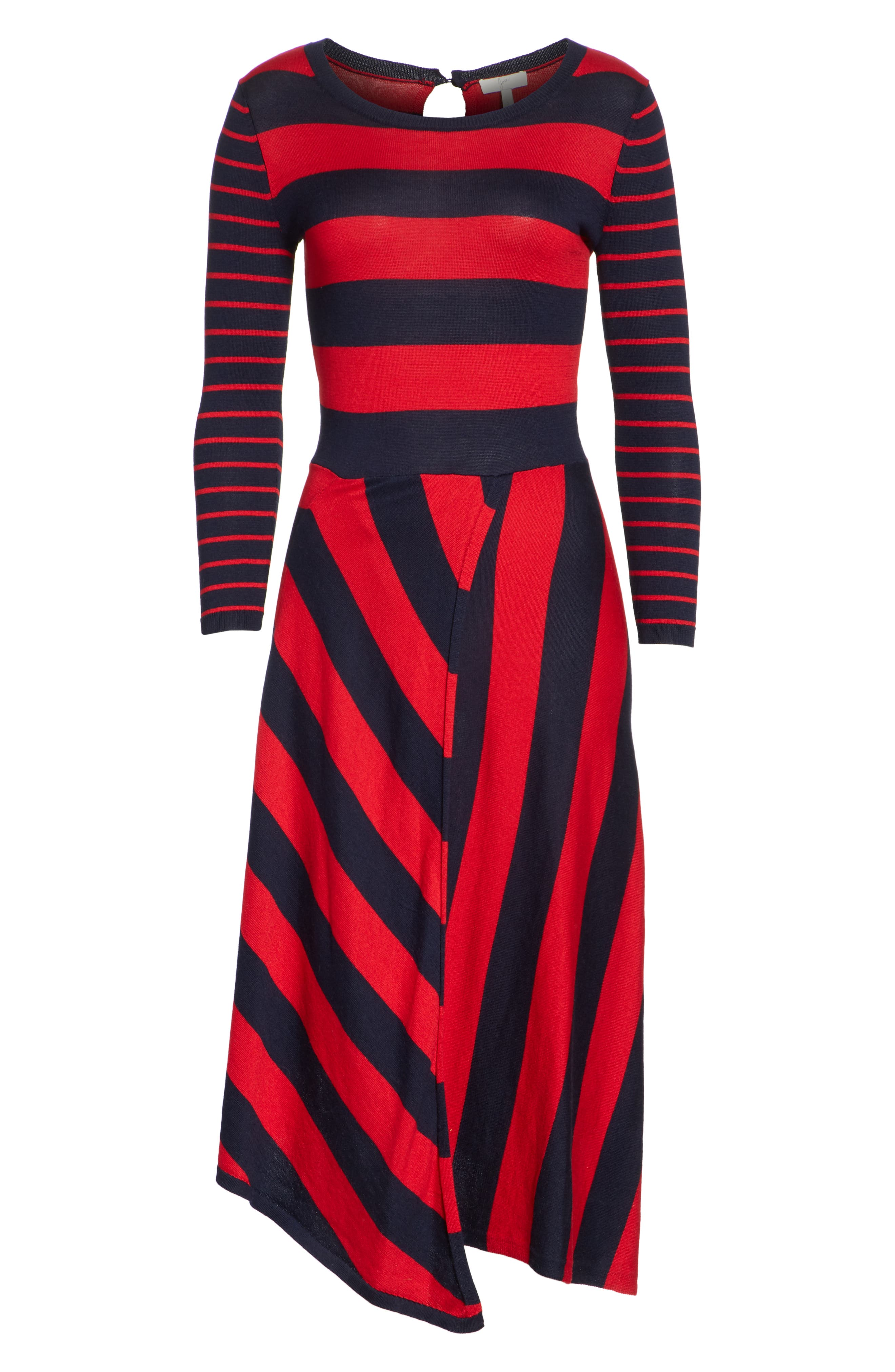Ecedra Asymmetrical Stripe Faux Wrap Dress,                             Alternate thumbnail 6, color,                             Midnight Cherry