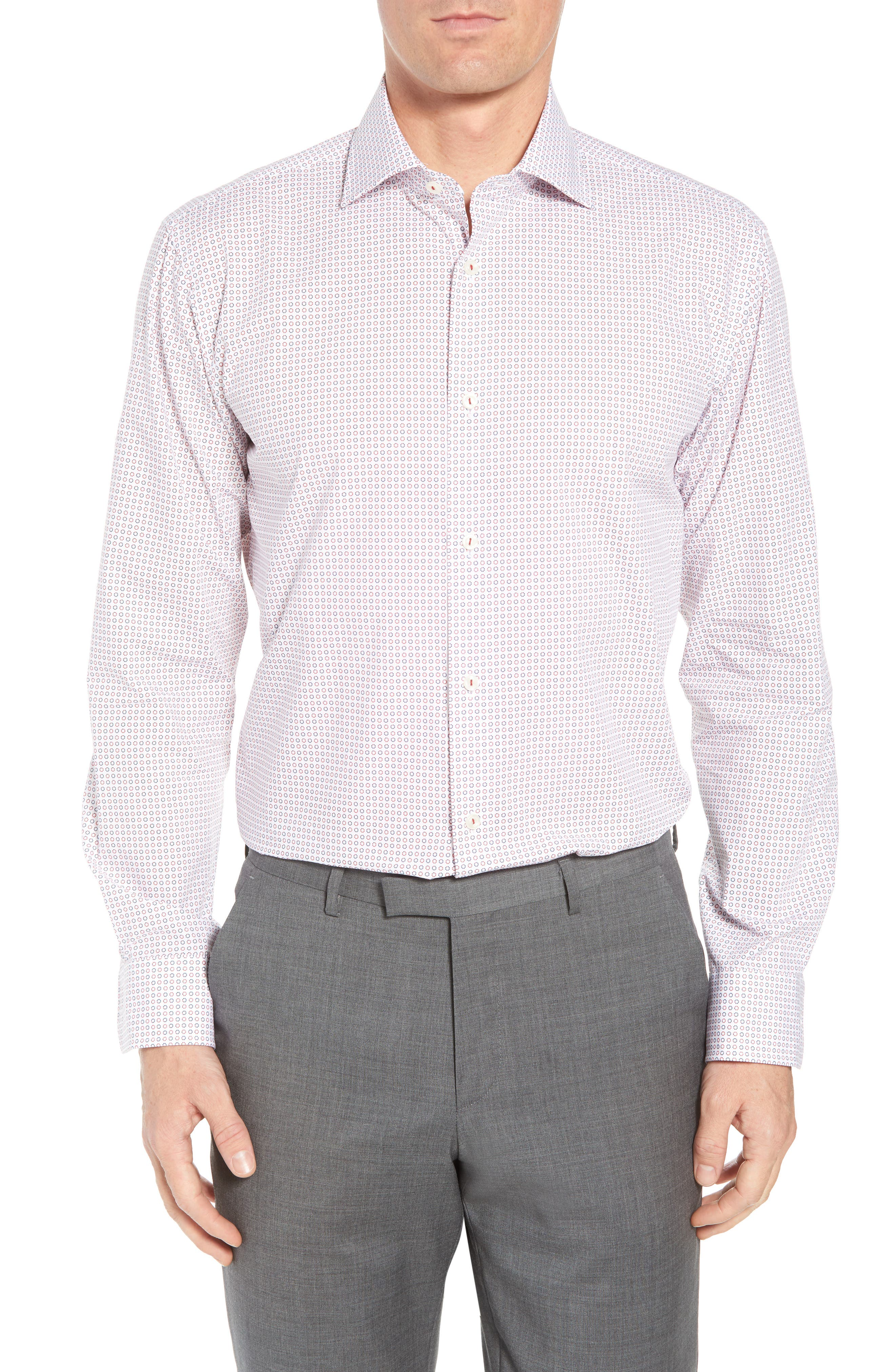 Trim Fit Dot Dress Shirt,                         Main,                         color, Ruby