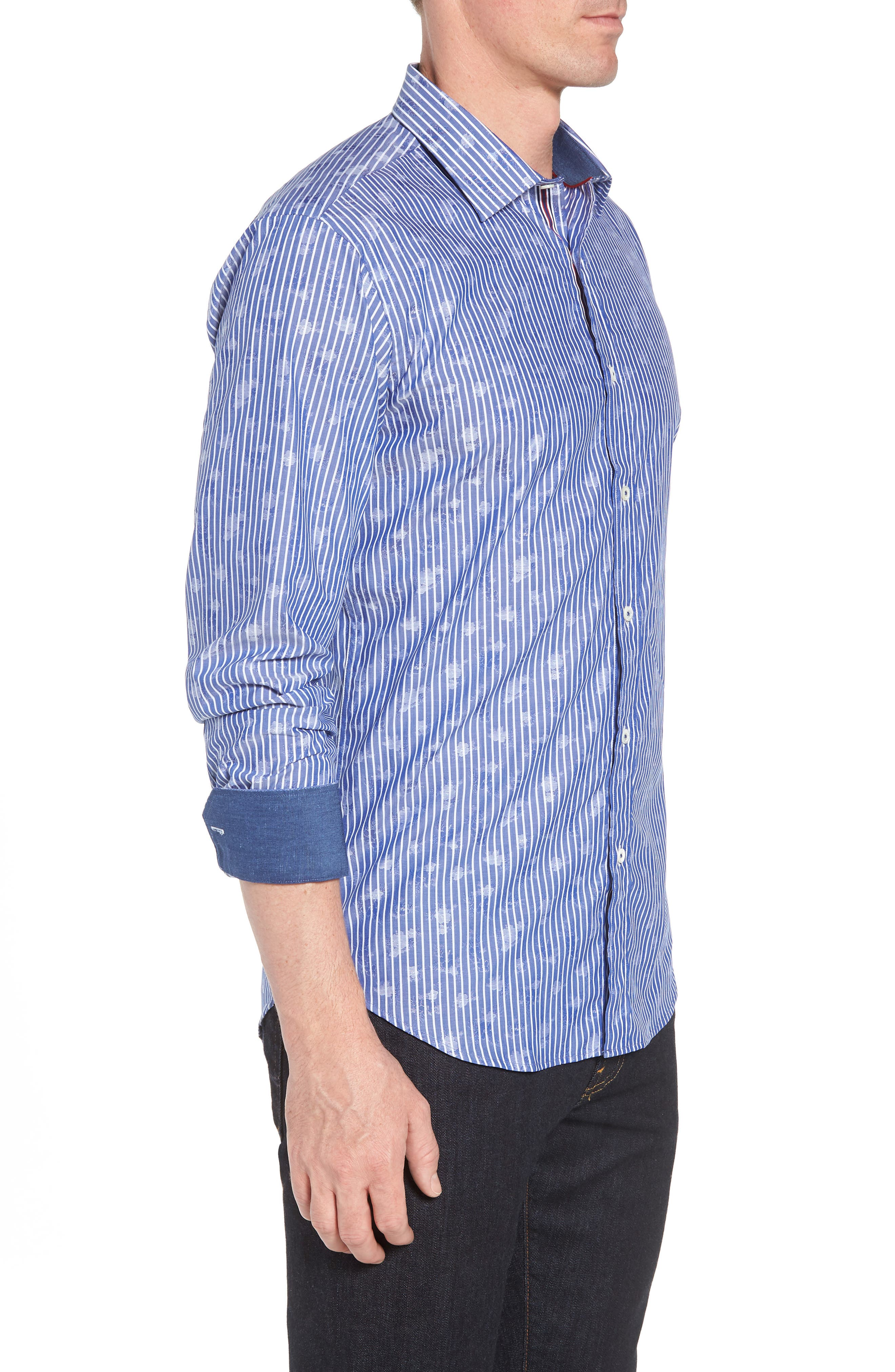 Shaped Fit Layered Print Sport Shirt,                             Alternate thumbnail 4, color,                             Navy
