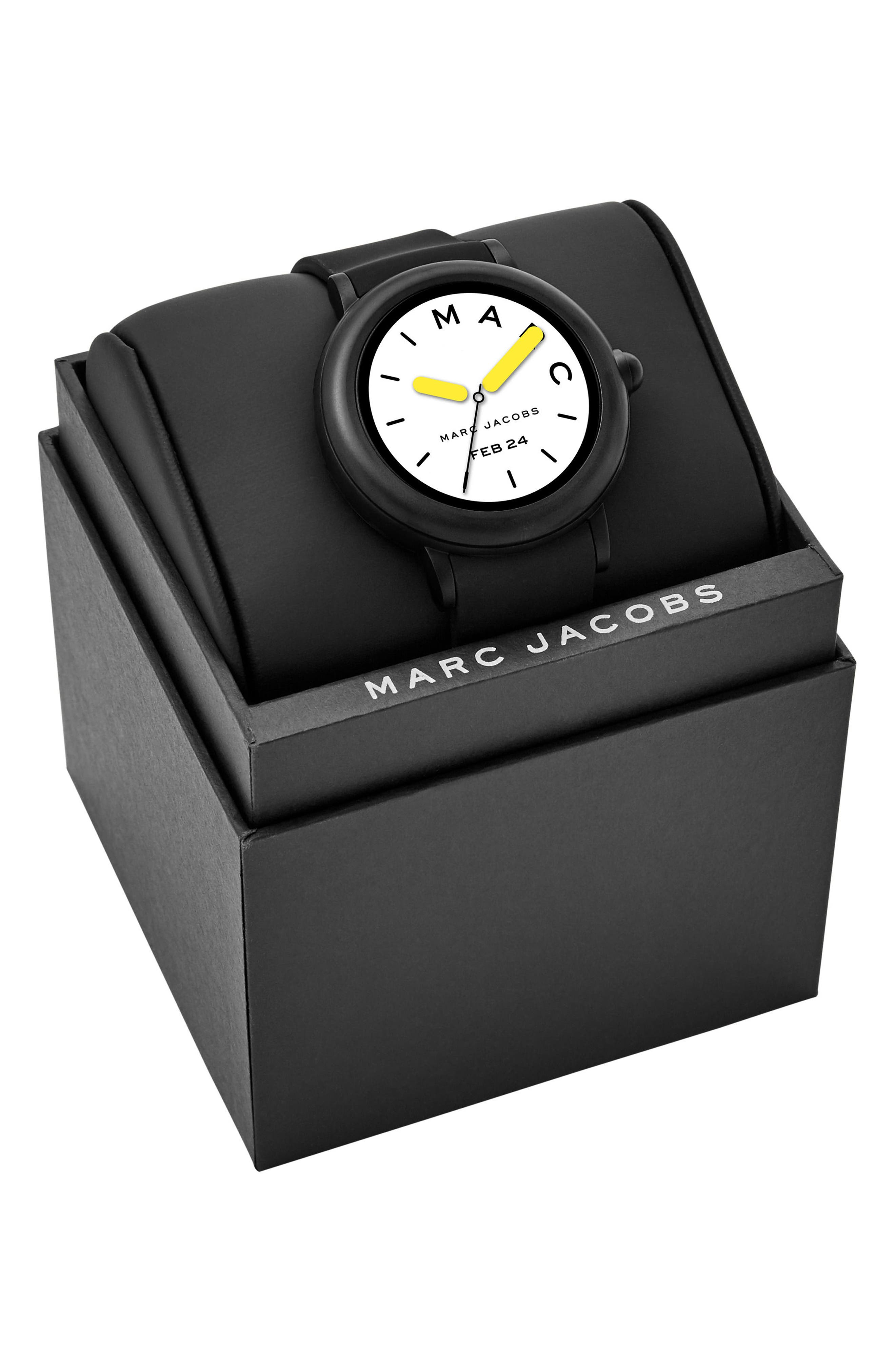 Riley Silcone Strap Smart Watch, 44mm,                             Alternate thumbnail 4, color,                             Black/ White/ Black
