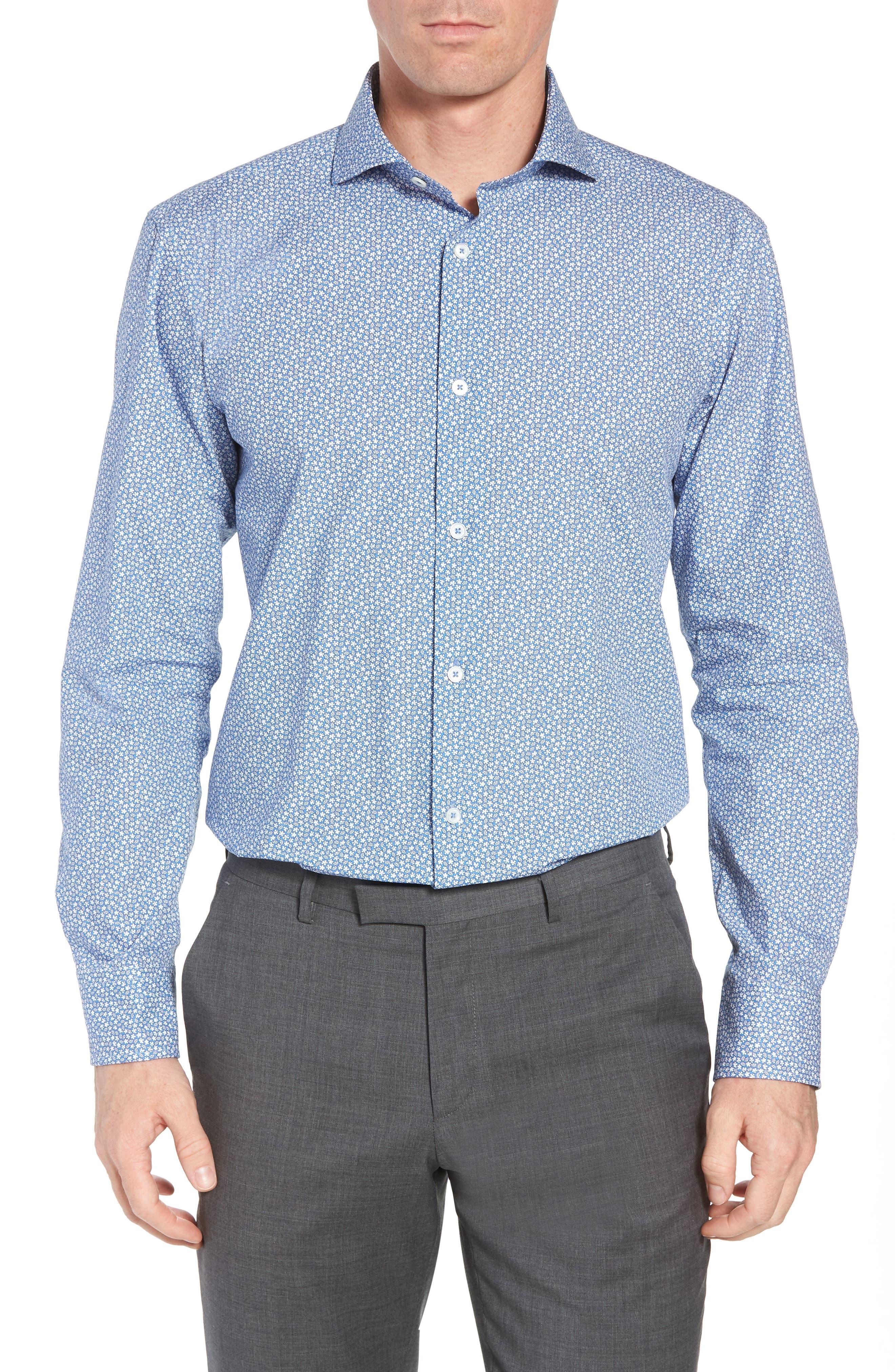 Trim Fit Print Dress Shirt,                             Main thumbnail 1, color,                             Classic Blue