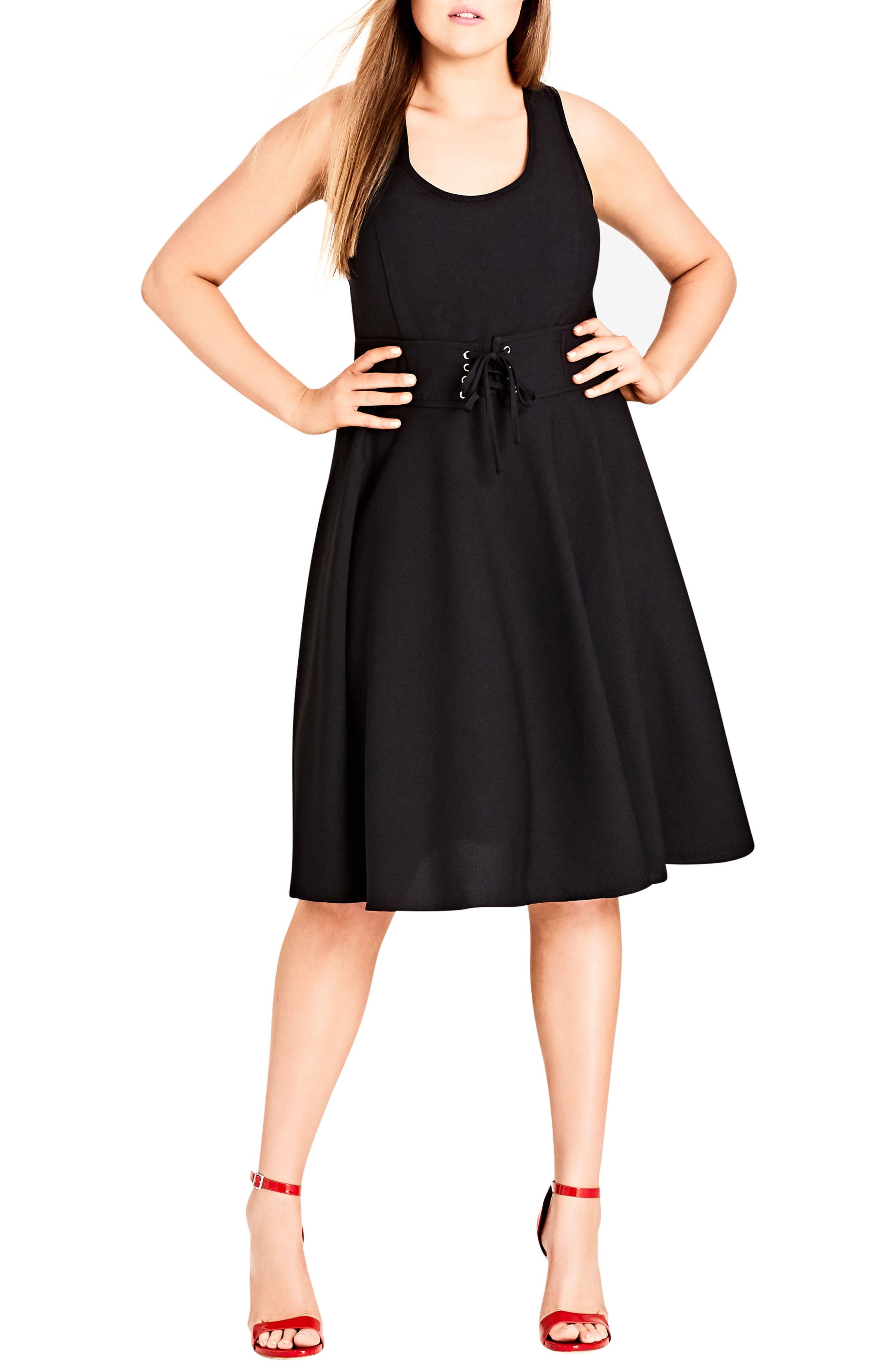 Corset Waist Fit & Flare Dress,                         Main,                         color, Black