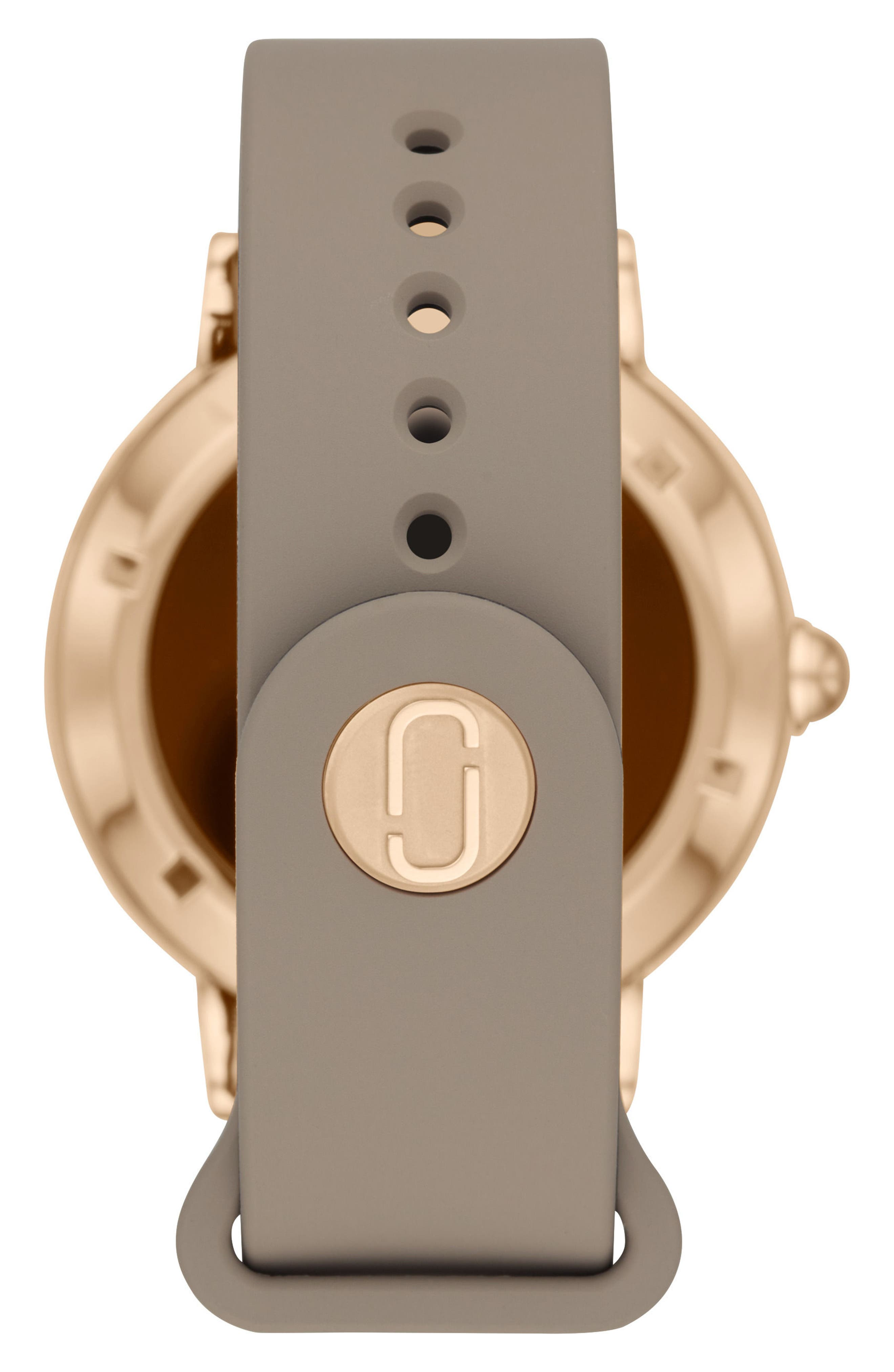 Riley Silcone Strap Smart Watch, 44mm,                             Alternate thumbnail 2, color,                             Taupe/ Rose Gold