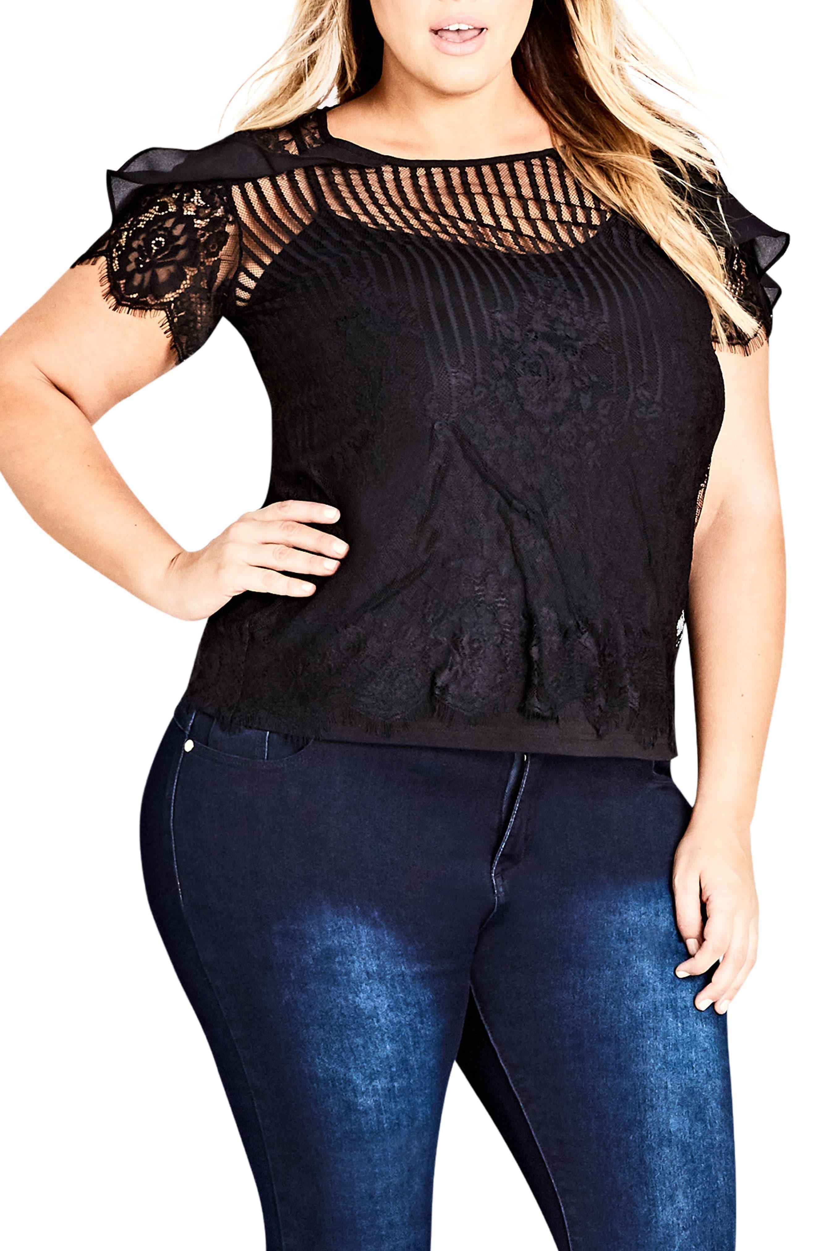 Ruffle Stripe Lace Top,                         Main,                         color, Black
