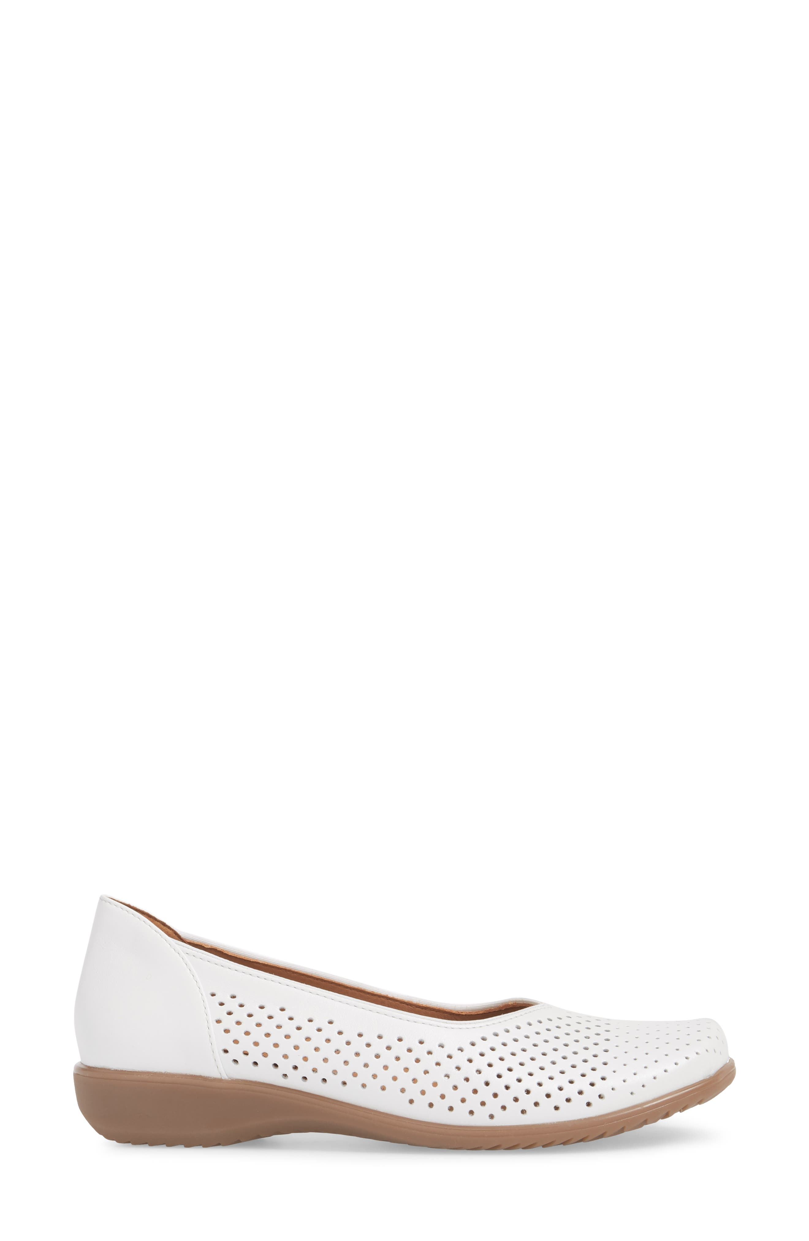 Avril Perforated Flat,                             Alternate thumbnail 3, color,                             White Pearl Leather