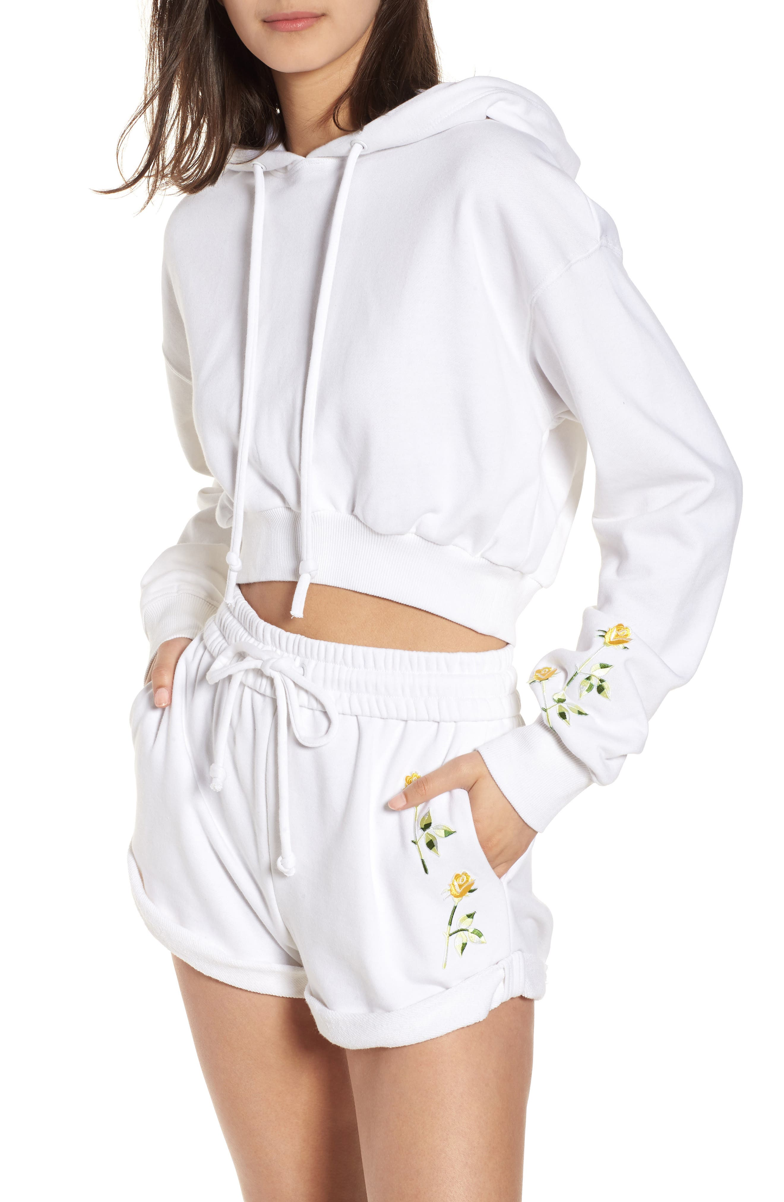 Crop Hoodie,                         Main,                         color, Bright White