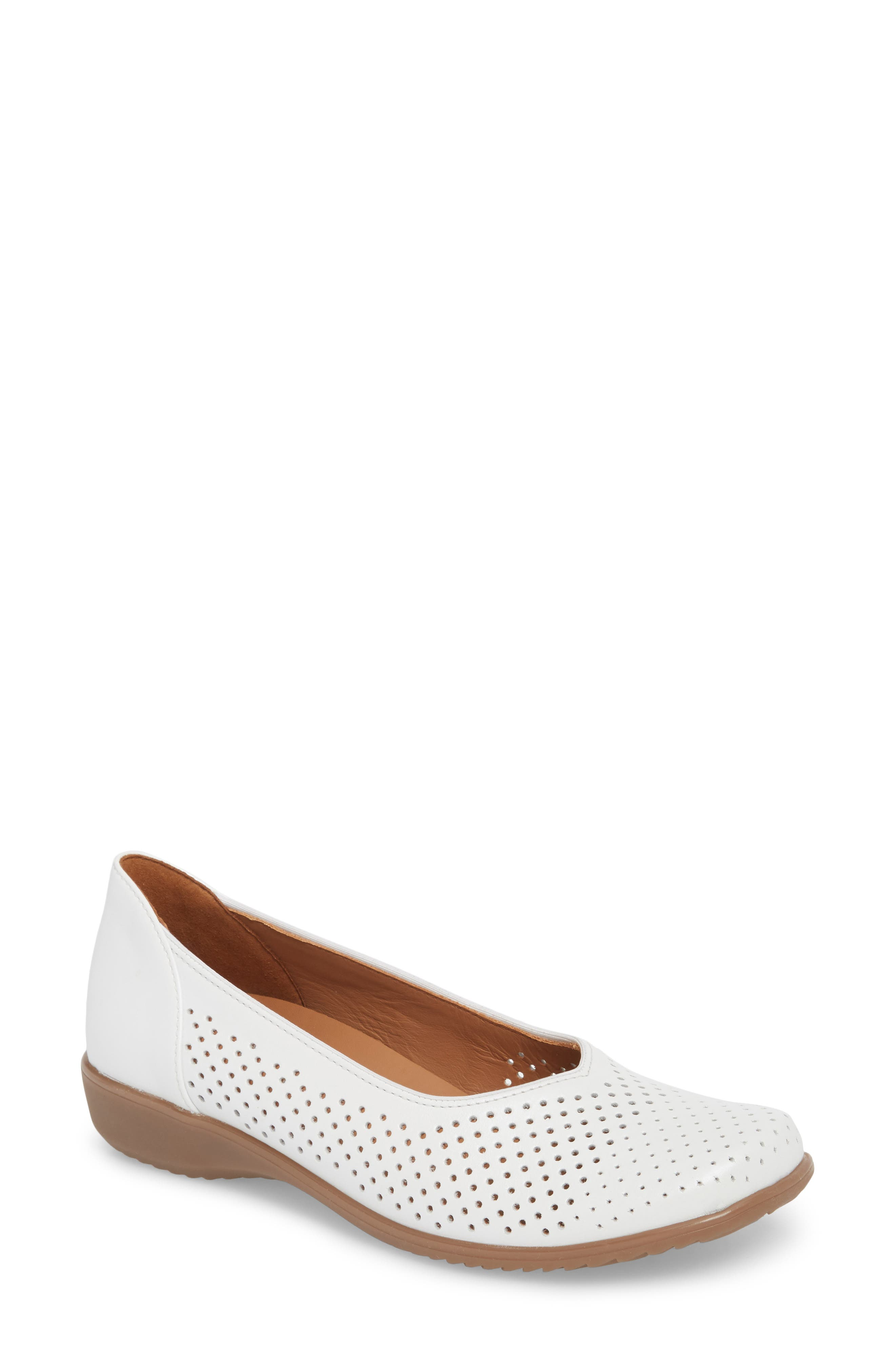 Avril Perforated Flat,                             Main thumbnail 1, color,                             White Pearl Leather
