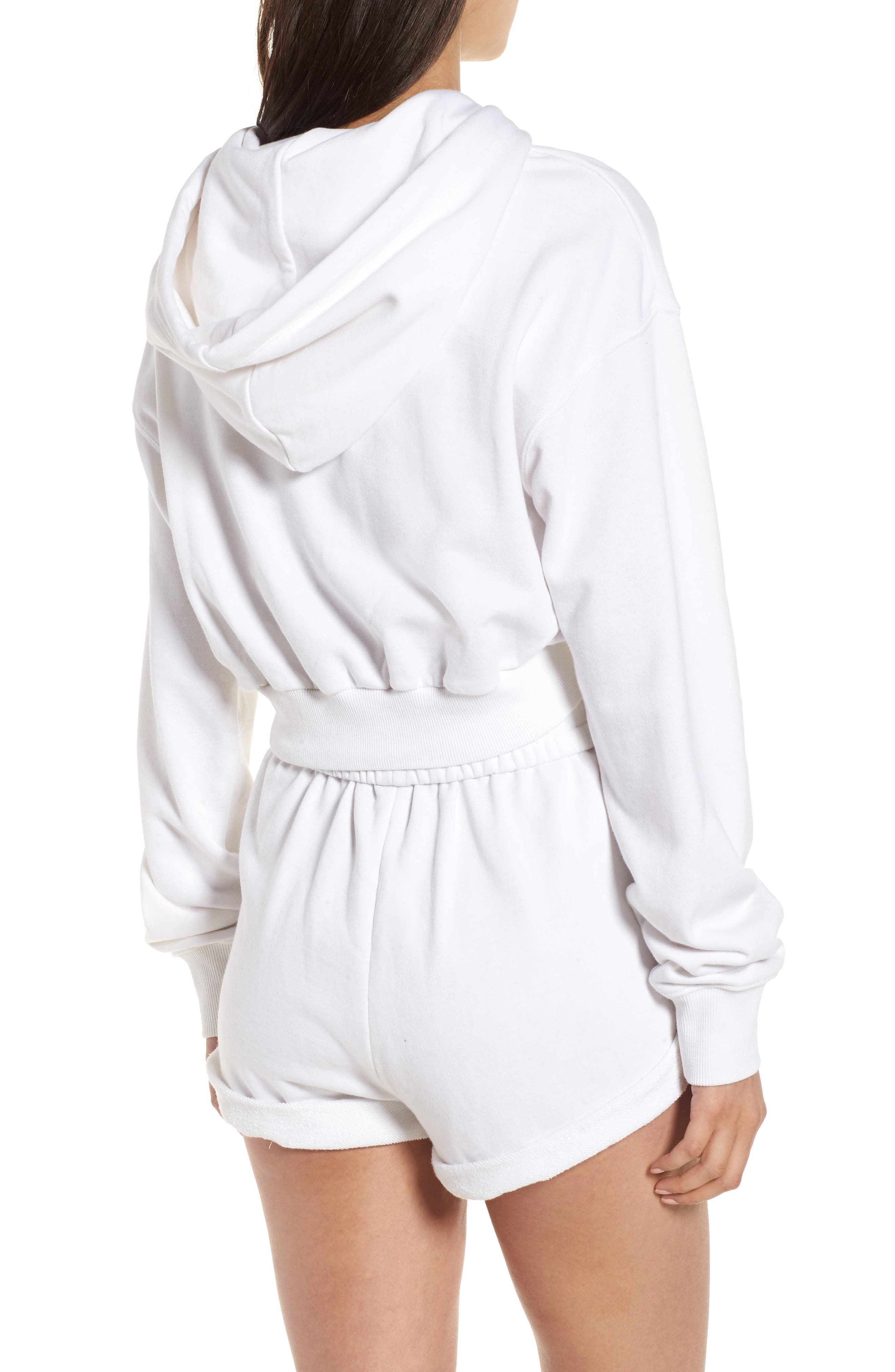 Crop Hoodie,                             Alternate thumbnail 2, color,                             Bright White