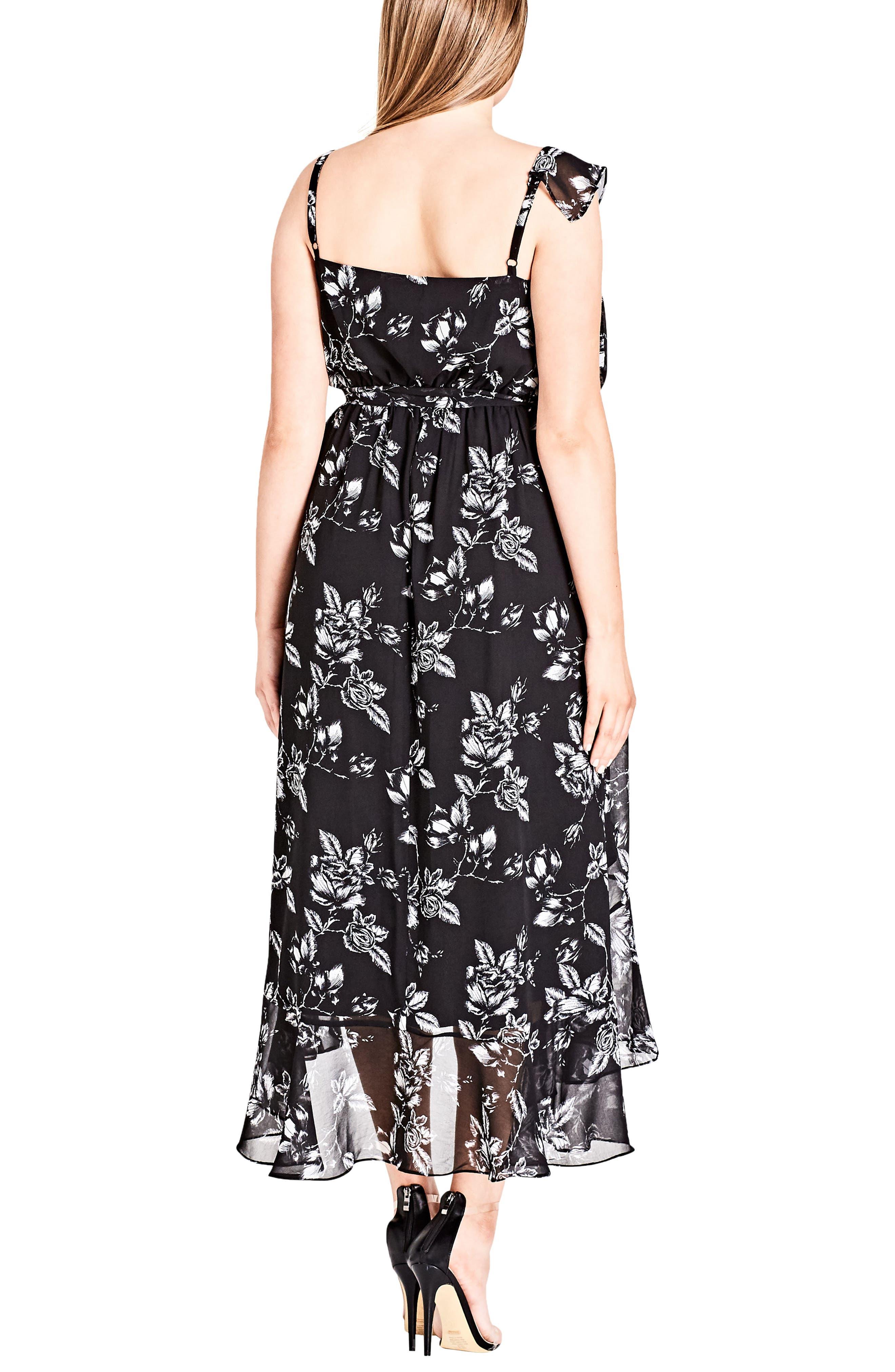 Frill Rose Faux Wrap Dress,                             Alternate thumbnail 2, color,                             Mono Rose