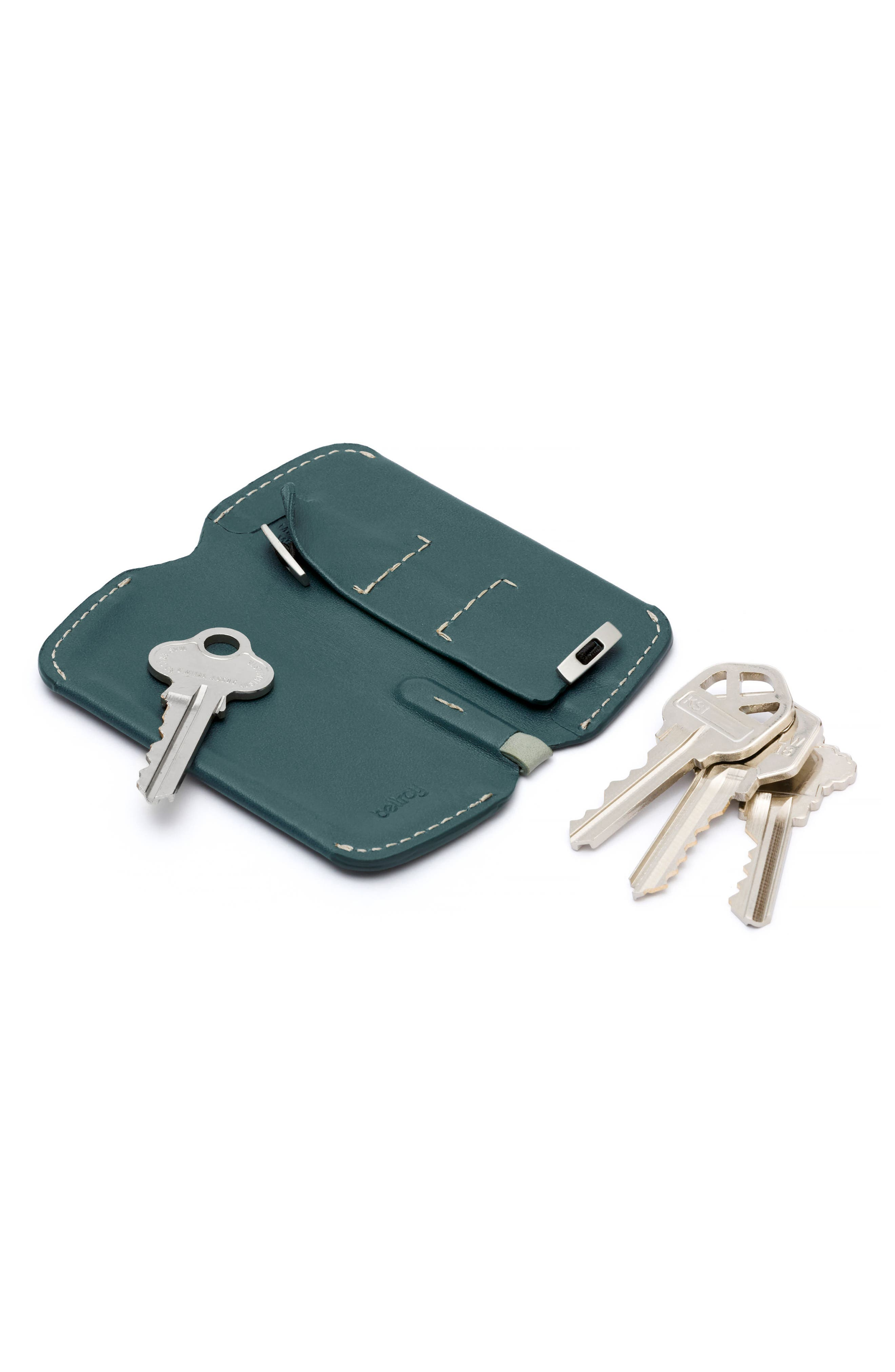 Leather Key Cover Plus,                             Alternate thumbnail 3, color,                             Teal