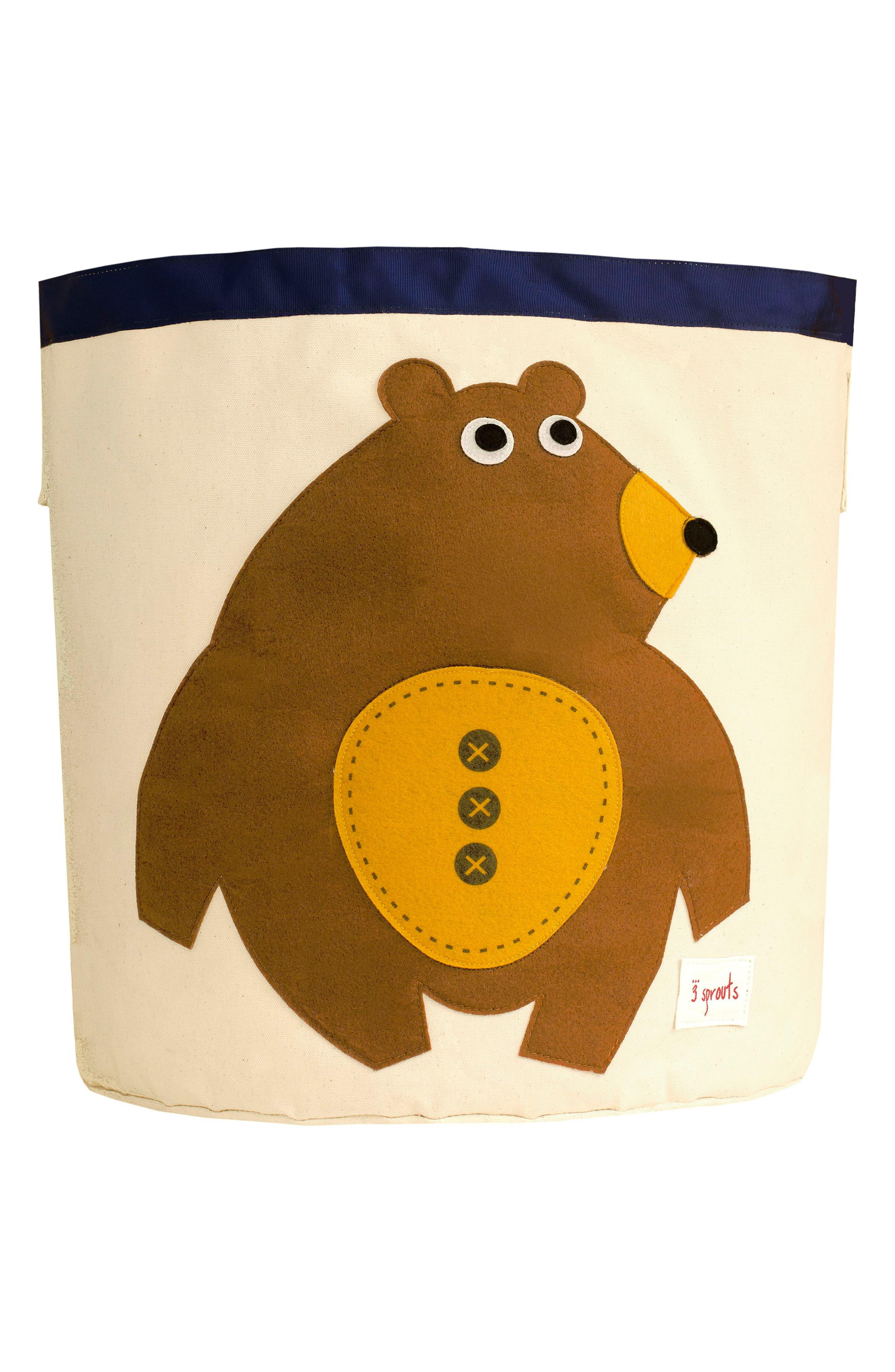 Bear Canvas Storage Bin,                         Main,                         color, Toffee