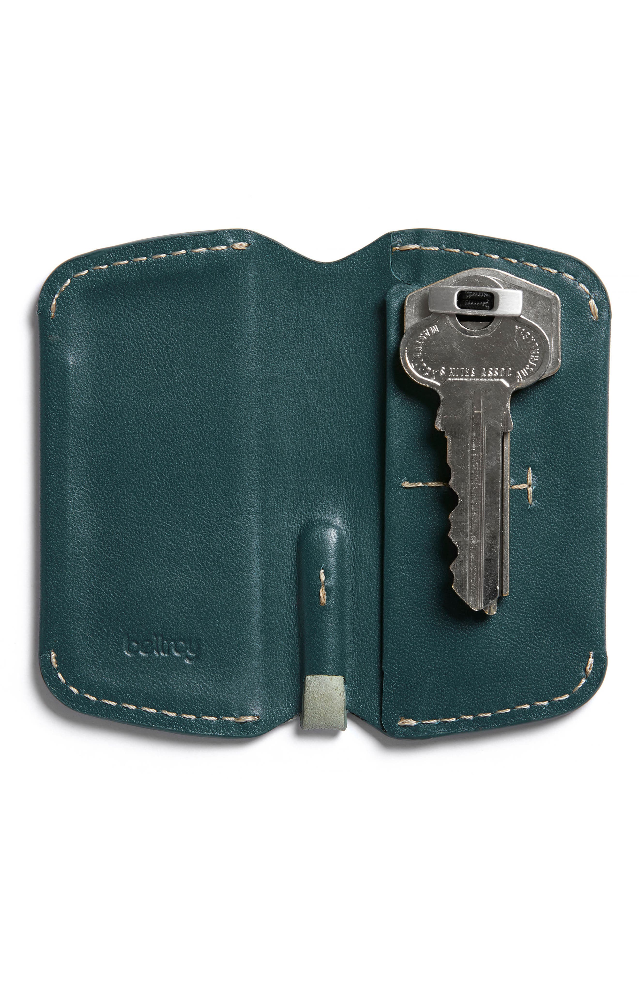 Leather Key Cover,                         Main,                         color, Teal