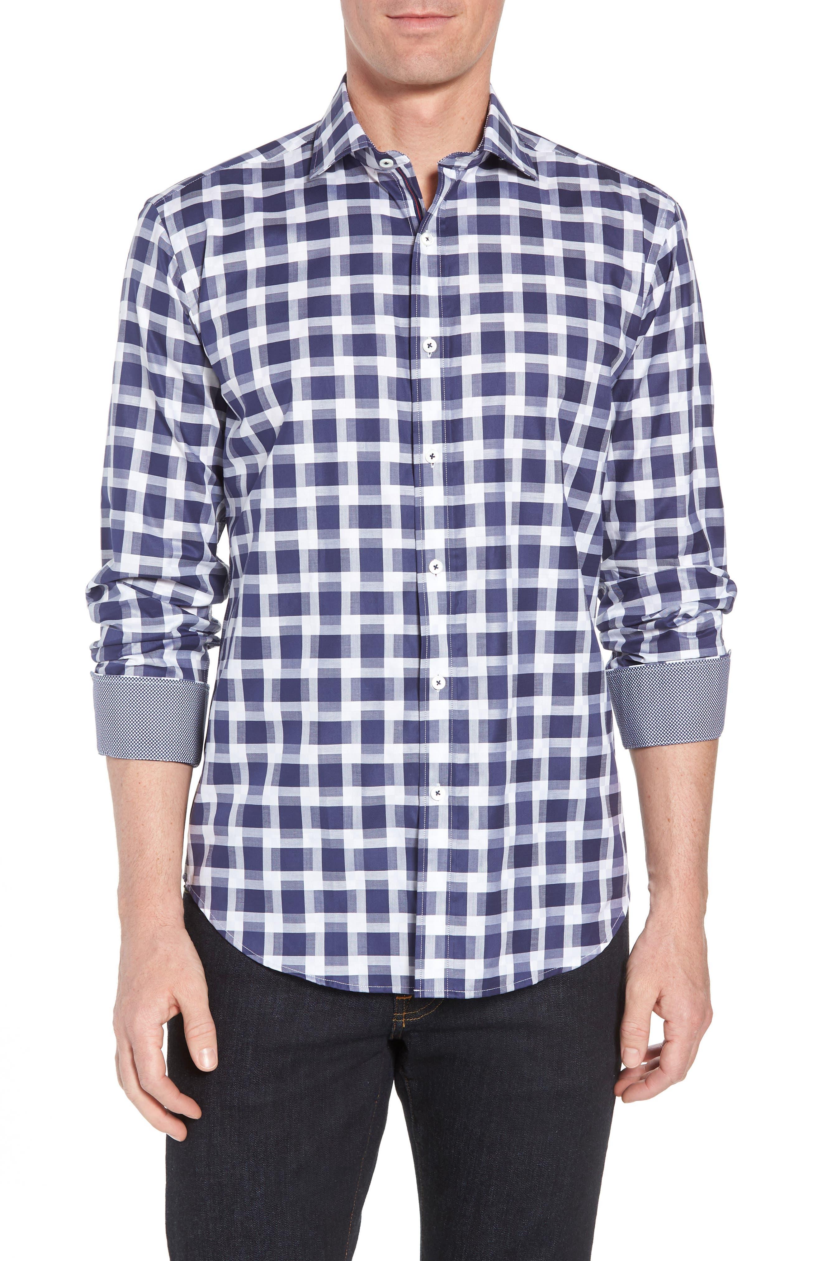 Shaped Fit Layered Grid Sport Shirt,                         Main,                         color, Navy