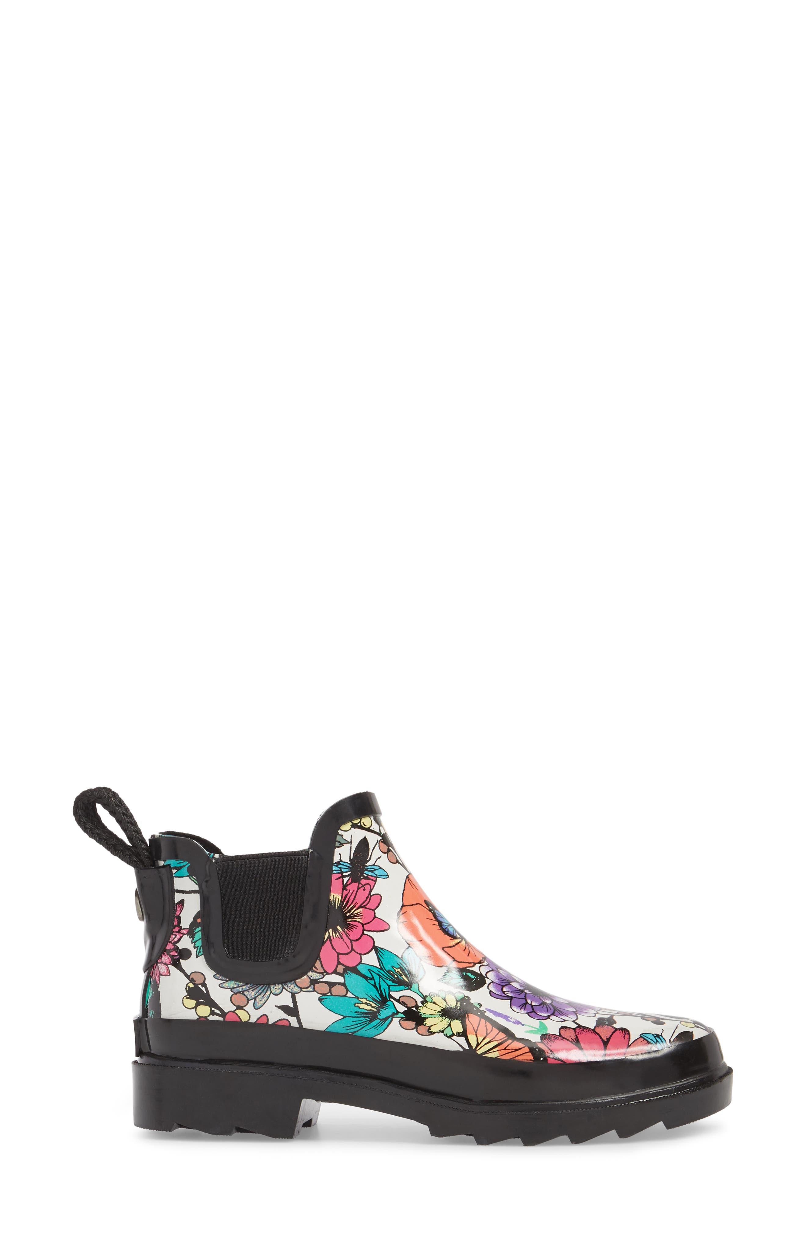 'Rhyme' Waterproof Rain Boot,                             Alternate thumbnail 3, color,                             Optic In Bloom