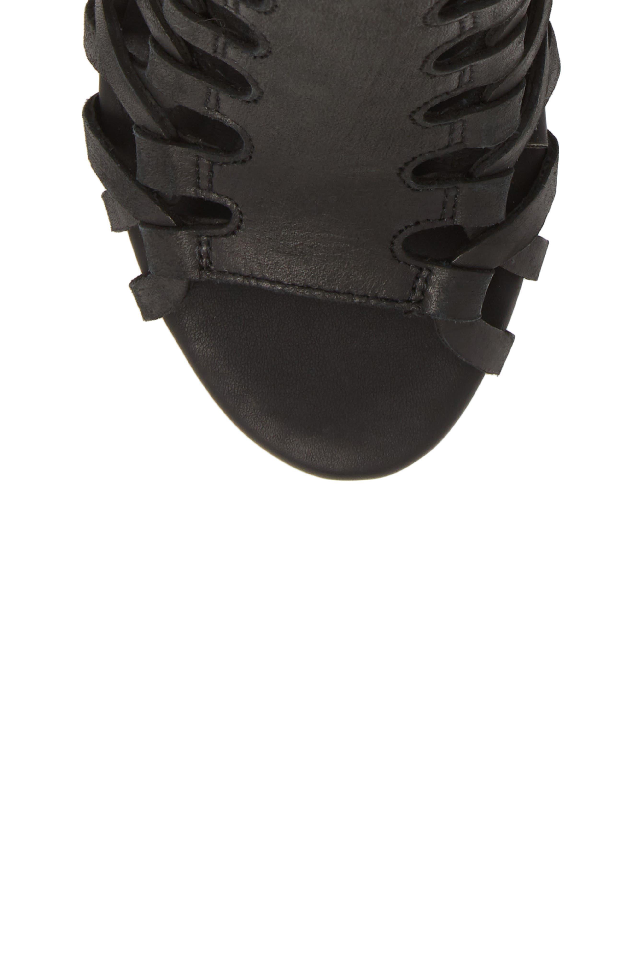 Despacito Bootie,                             Alternate thumbnail 5, color,                             Black Distressed Leather
