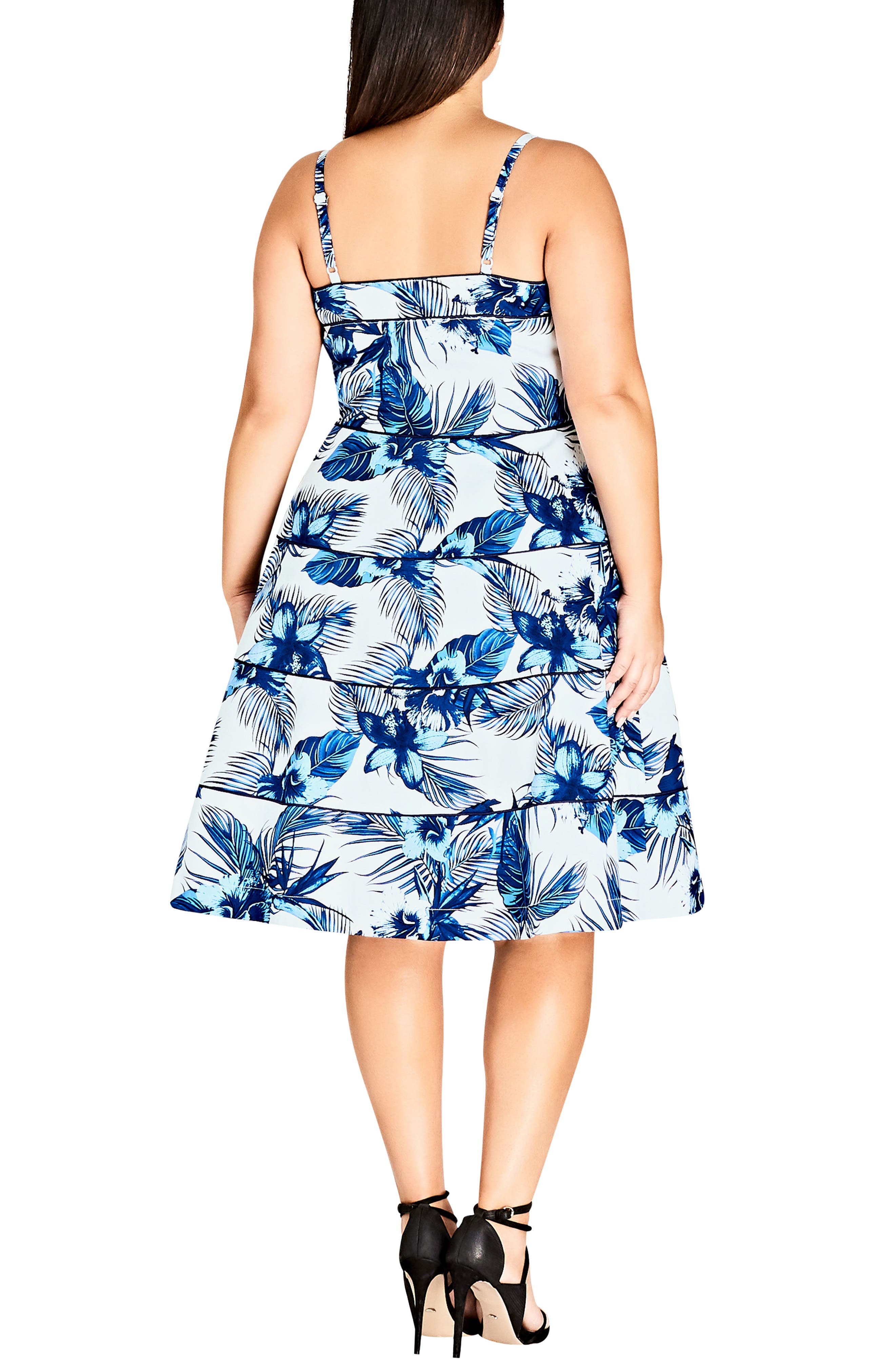 Blue Hawaii Fit & Flare Dress,                             Alternate thumbnail 2, color,                             Hawaii
